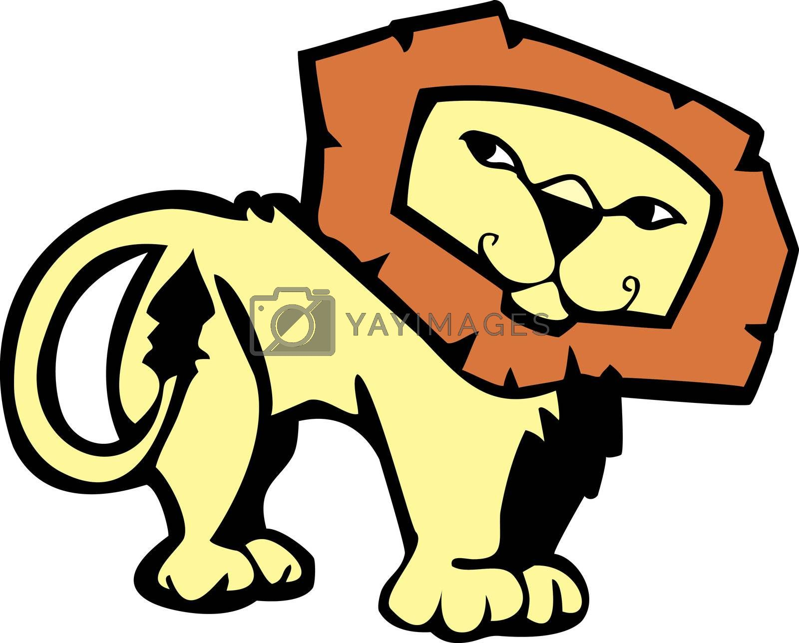 Cartoon of a male African lion with a pleasant expression.
