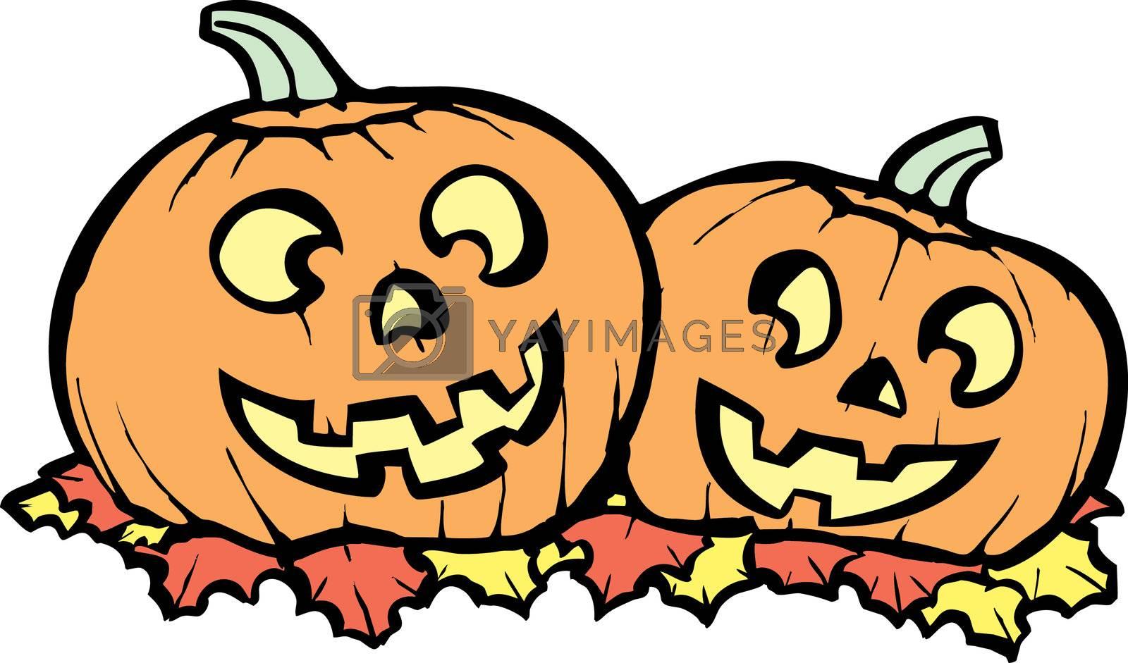 Two orange Jack-o-Lanterns lit up for Halloween night.