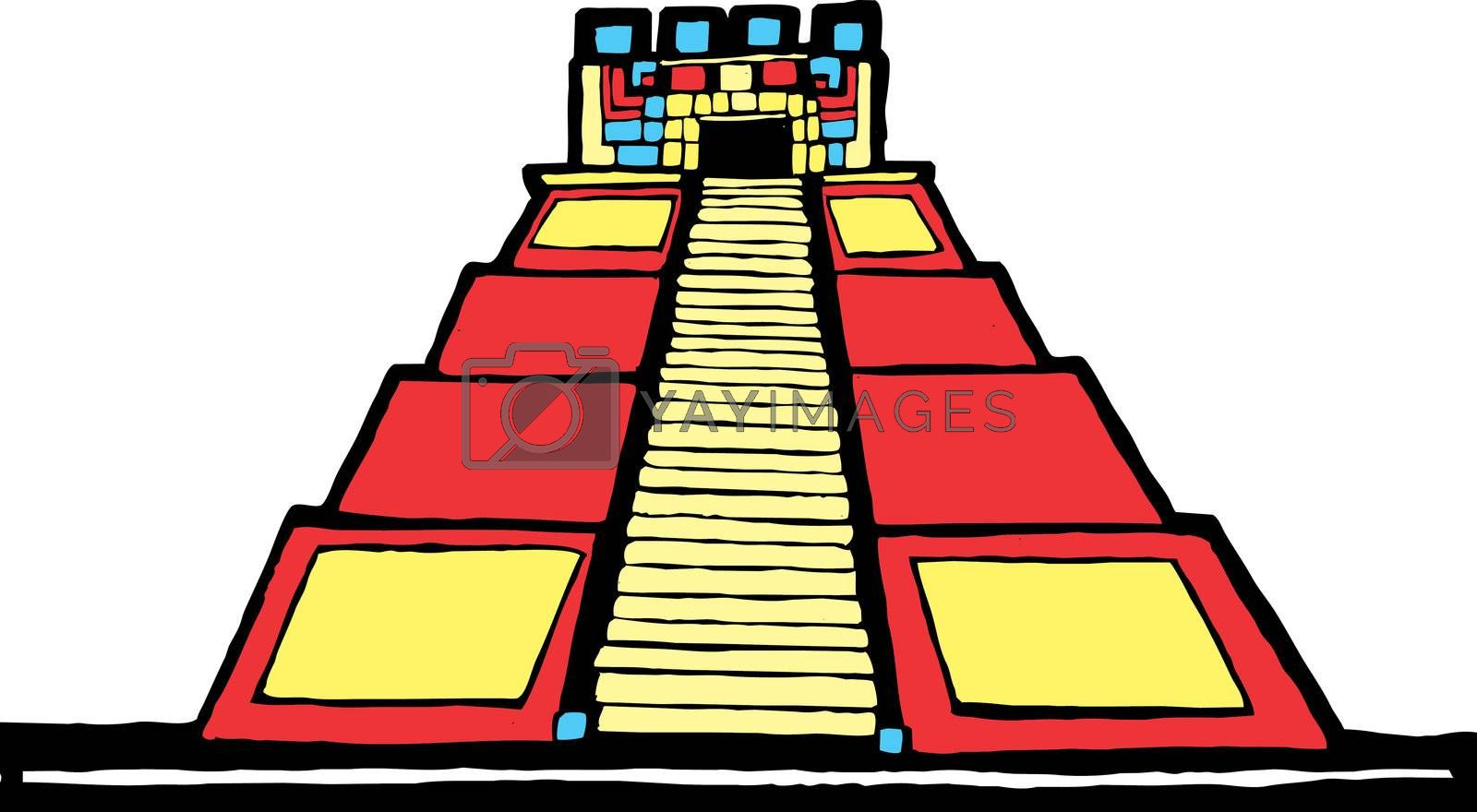 Mayan Pyramid designed after Mesoamerican Pottery and Temple Images.