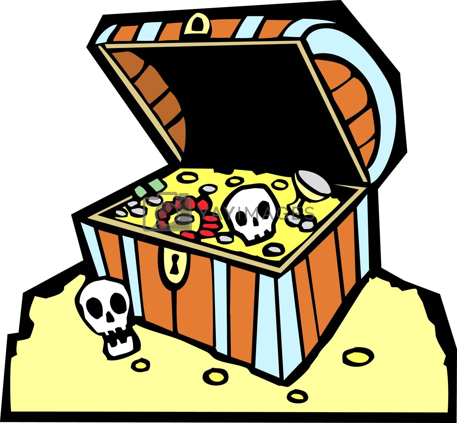 Pirate treasure chest with gold coins and skulls.