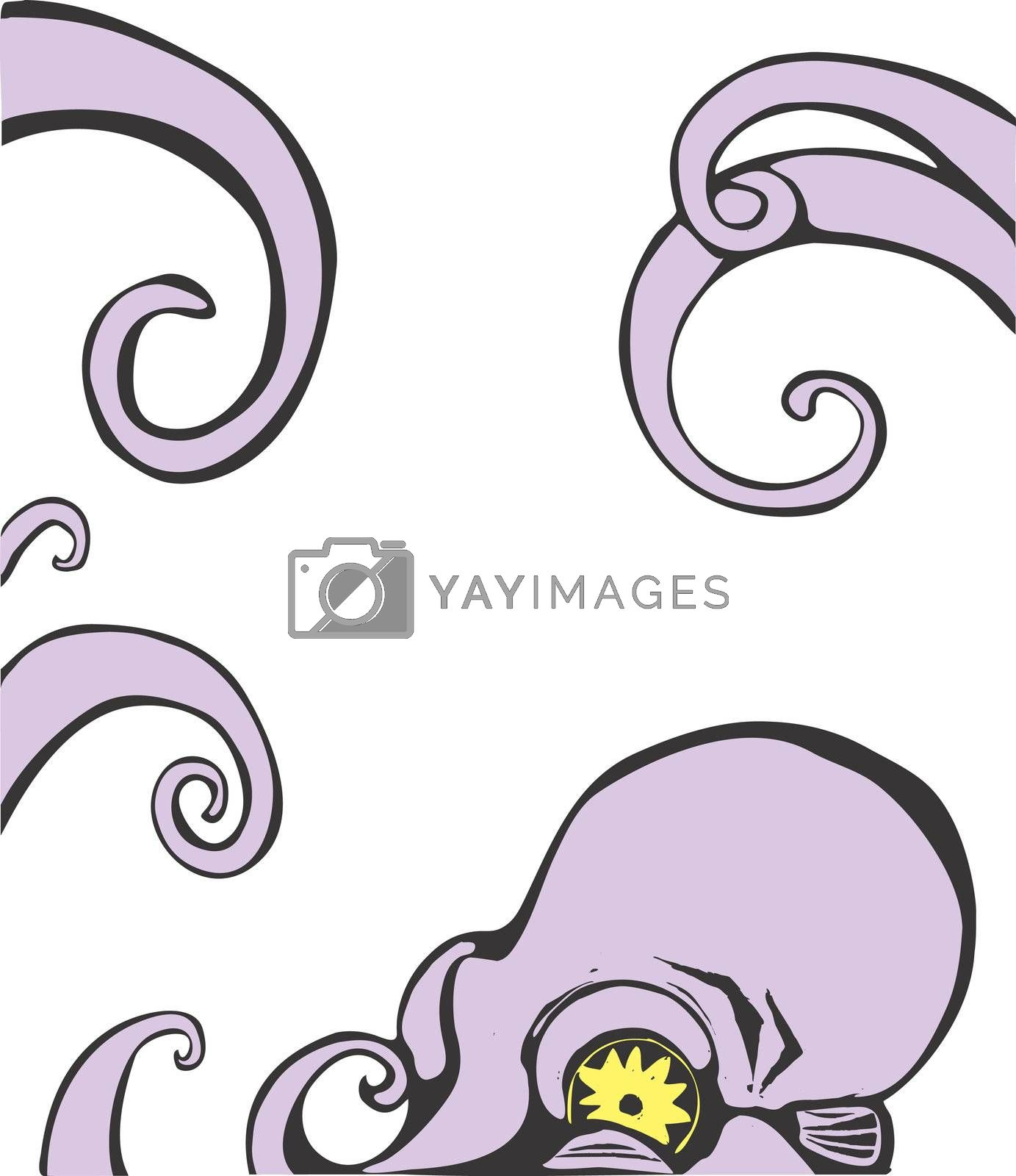 Purple octopus head and arms. Can be moved around to border another image.