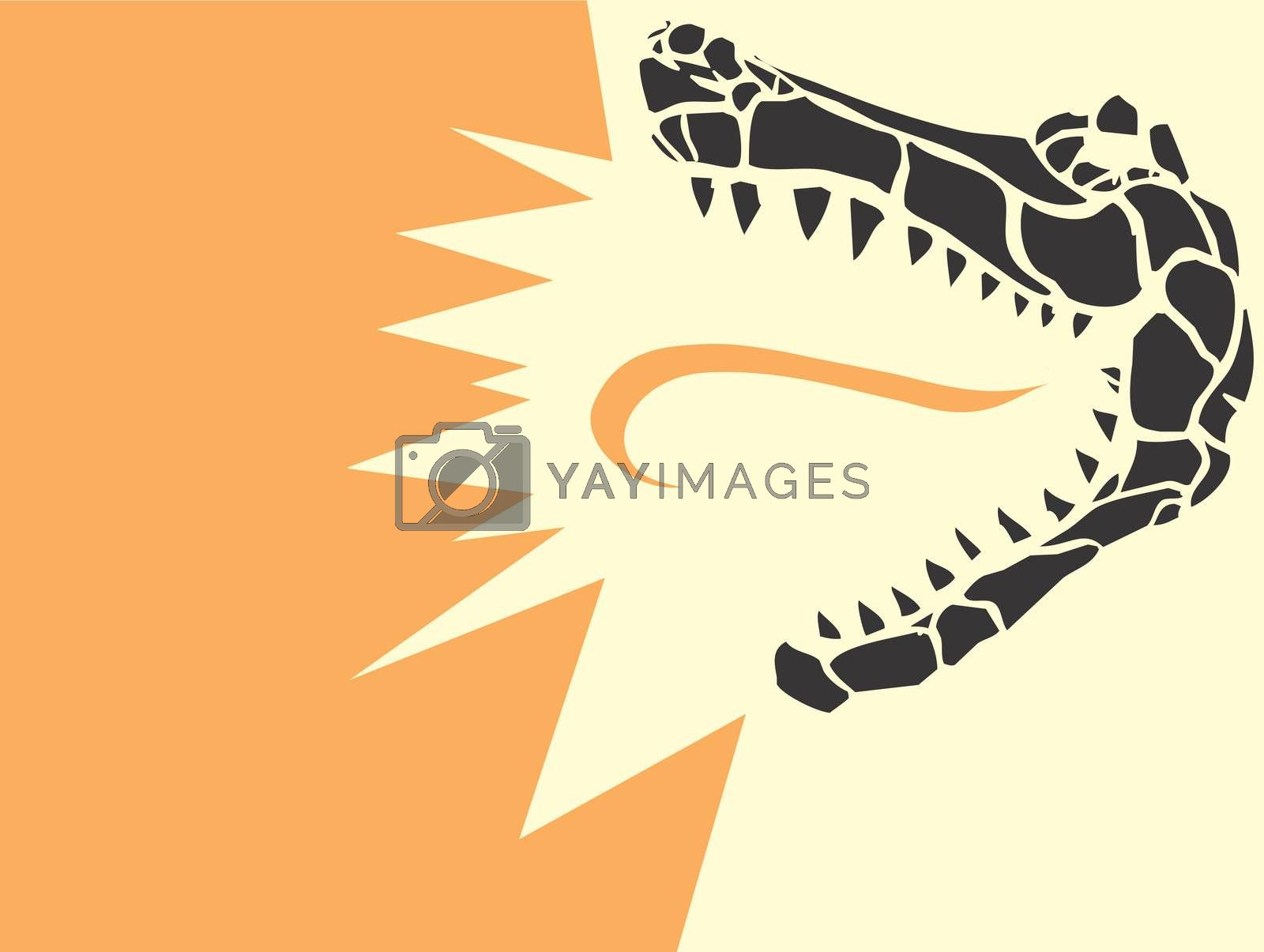 Simple image of an stylized alligator head derived from my own scratch board design with tongue of flame.