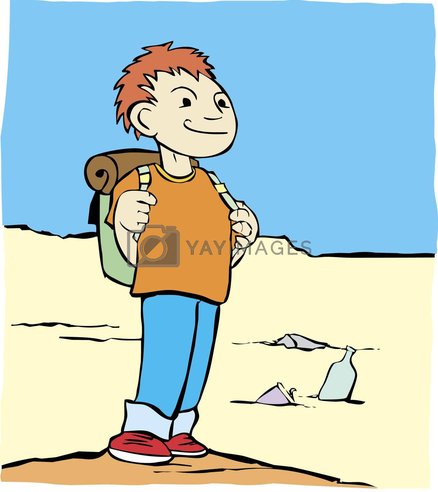 Cartoon image of a boy with a backpack in a sandy desert.