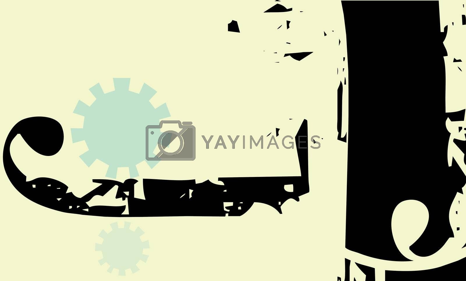 Modern style background with gears and african patterning.