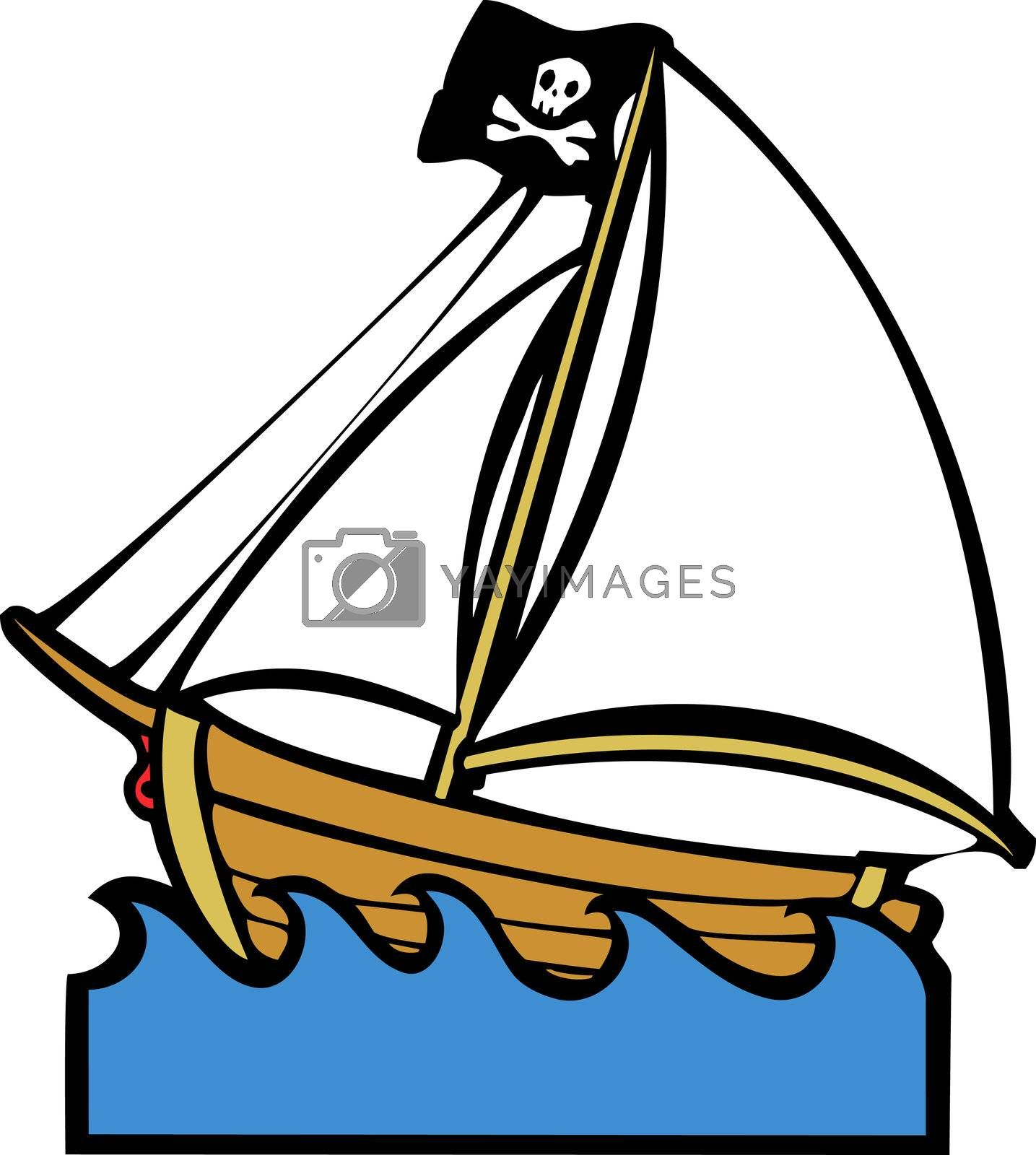 Simple children's boat image with pirate flag and sails.