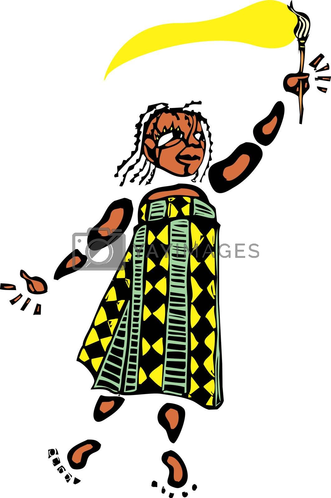 Girl in an african patterned dress holds a paintbrush.