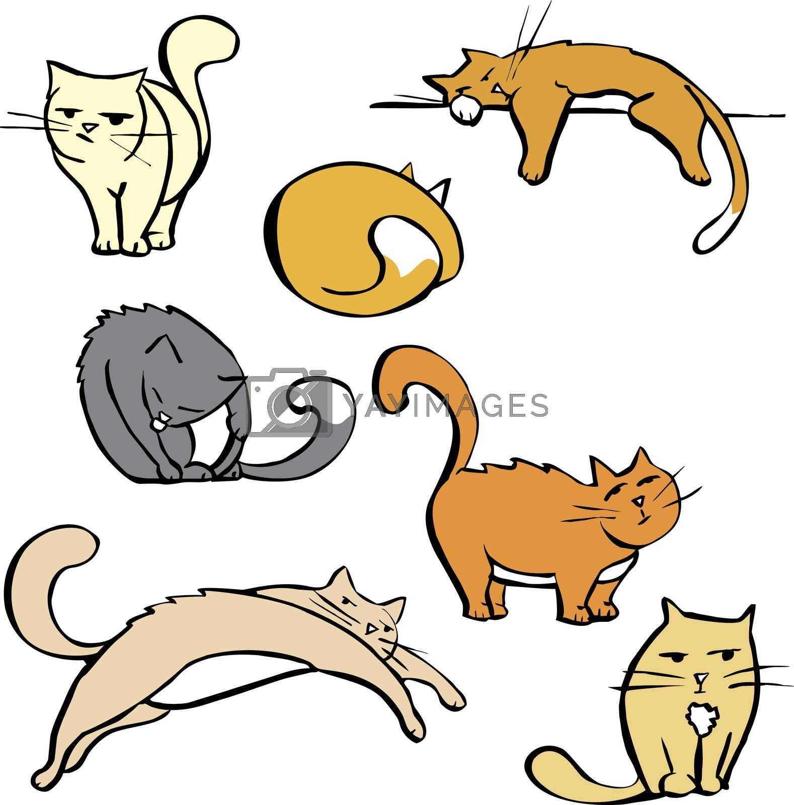 Cartoon image sheet of various cats in different poses. Good for spot illustration space or cartoons.