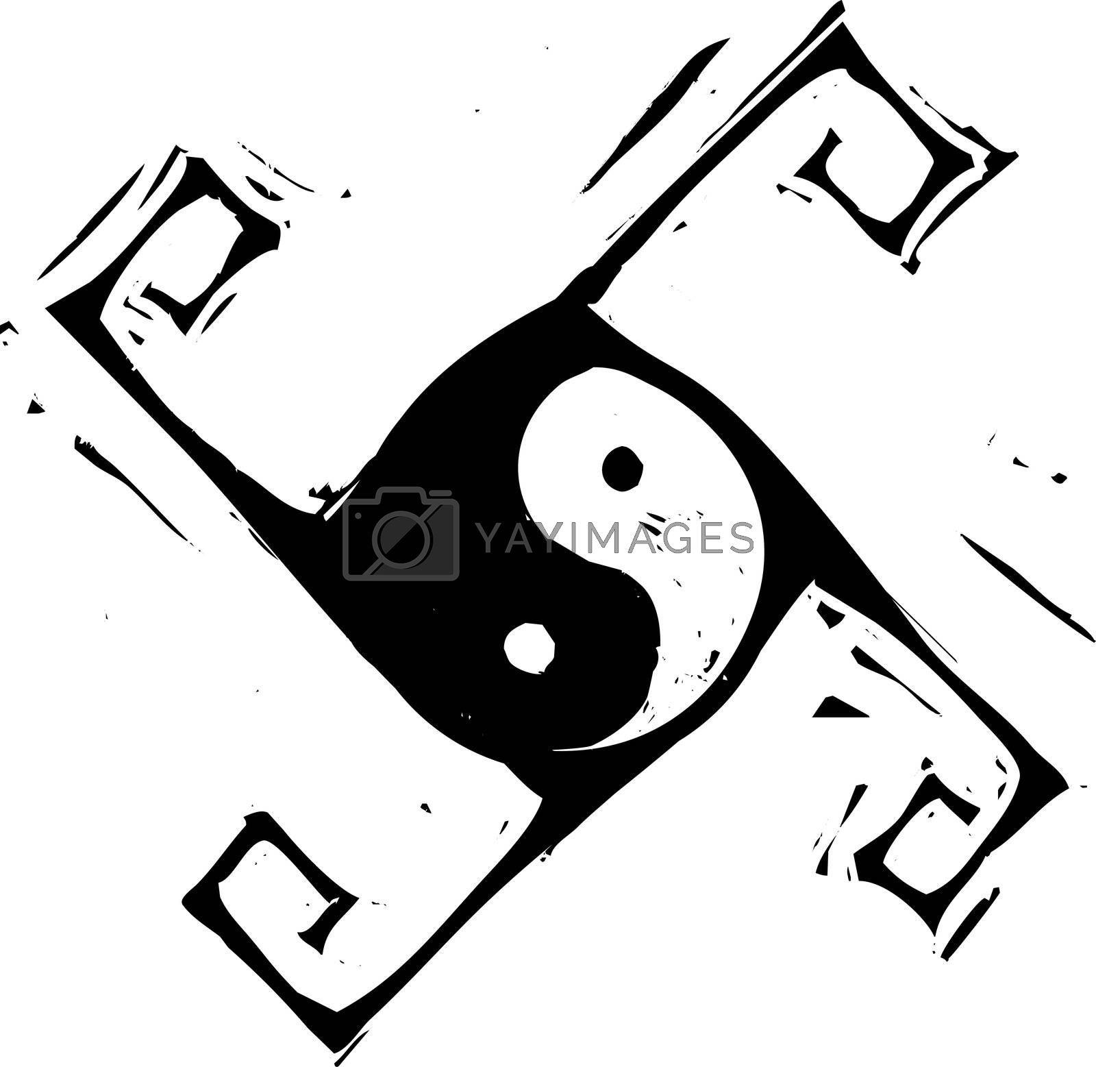 Yin and Yang Symbol in spinning cross pattern.