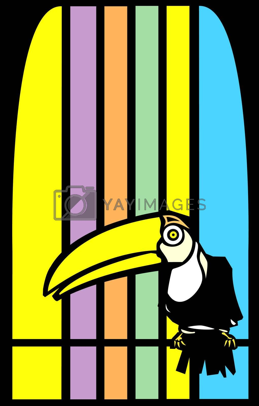 Tropical toucan bird with stripes in background.