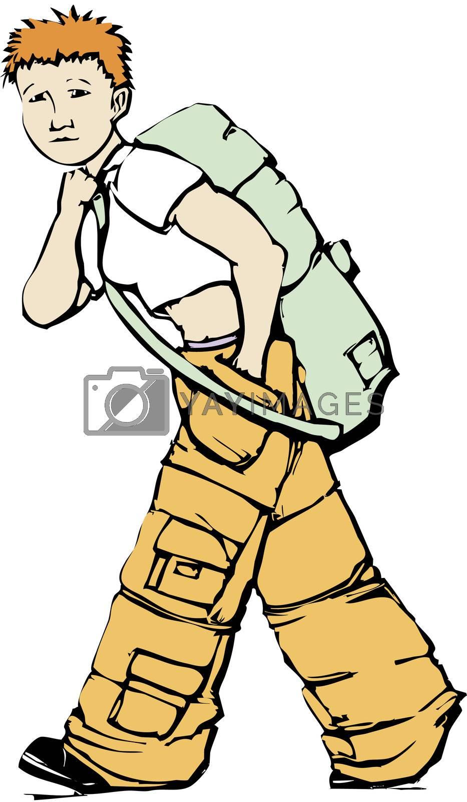Girl in cargo pants carries an army green duffel bag.