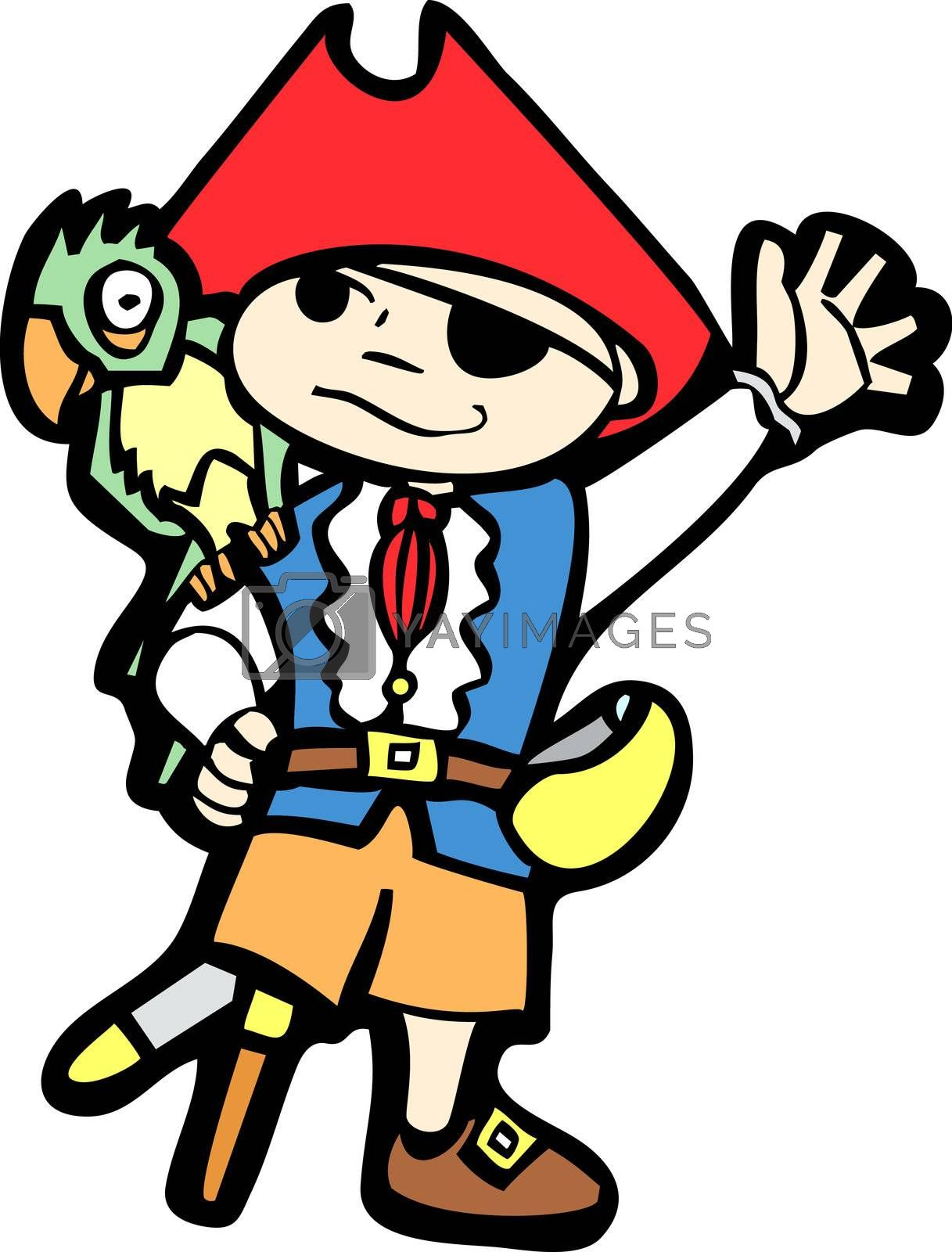 Boy in a pirate costume with peg leg and parrot.