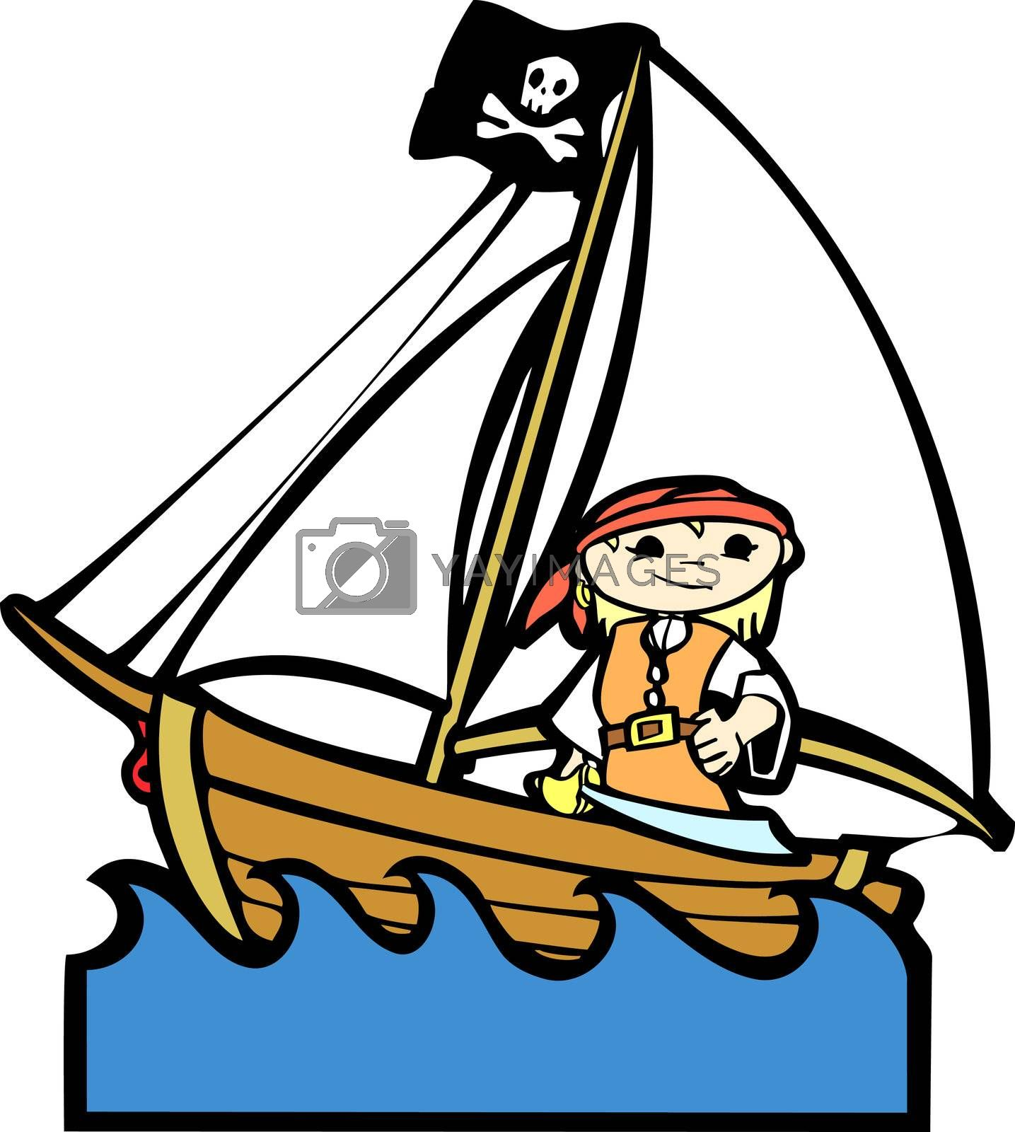 Simple children's boat image with girl in pirate costume.