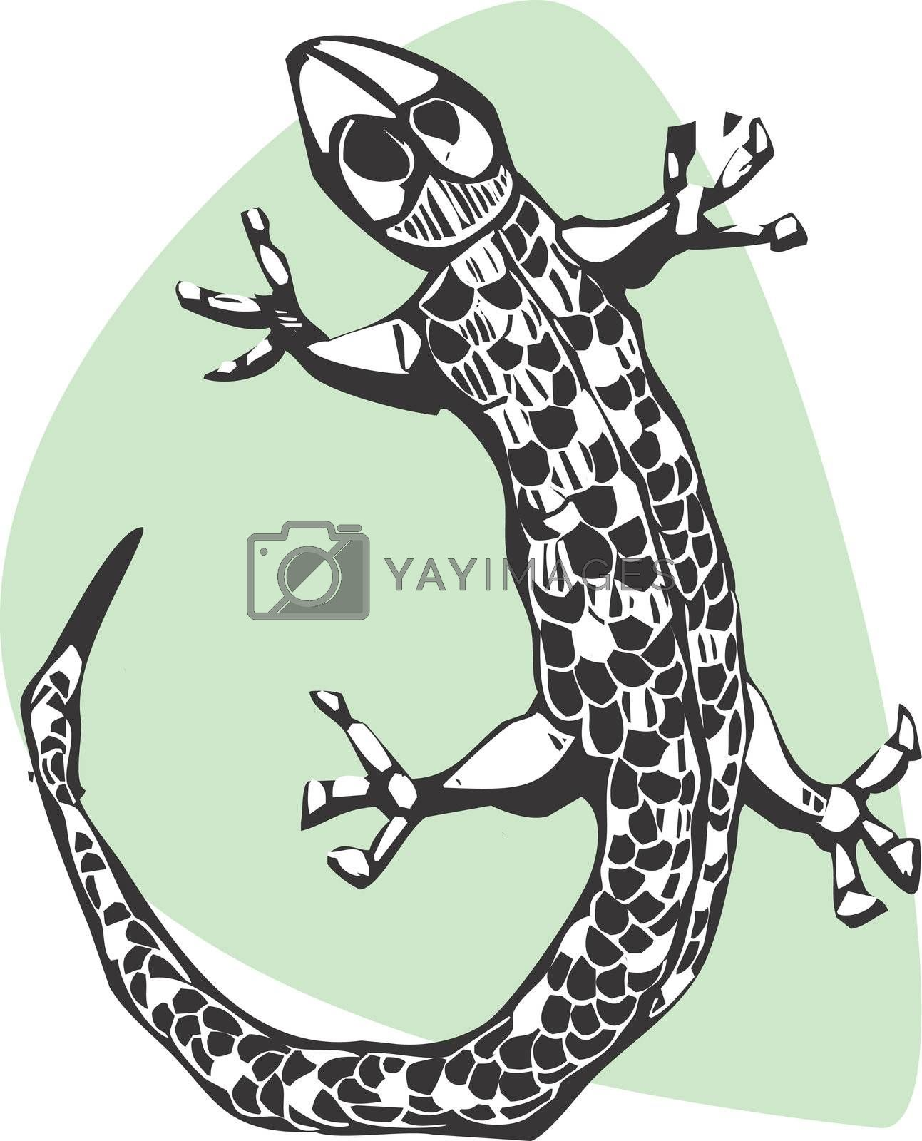 A simple lizard done in a woodcut style.