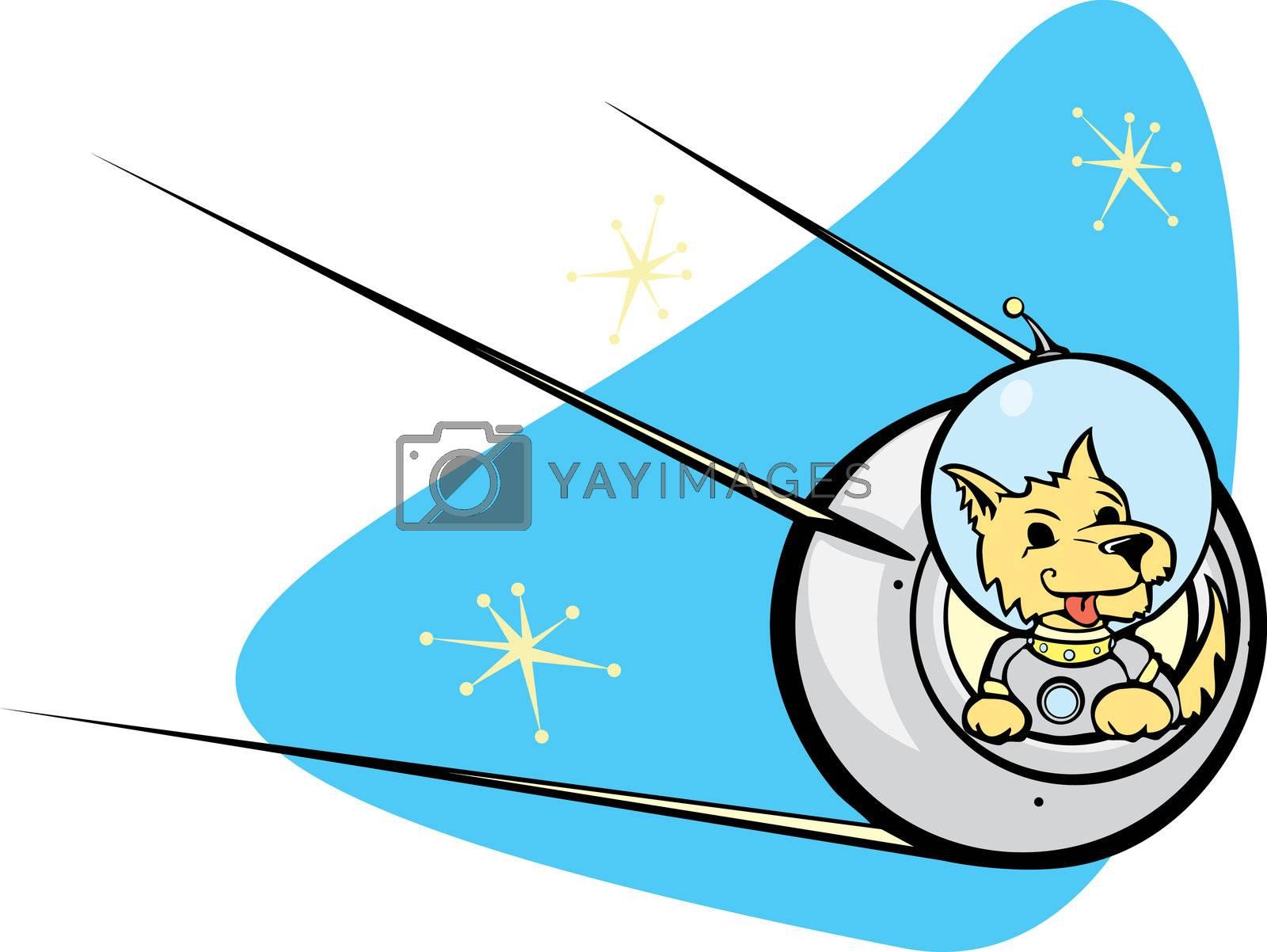 Retro Russian Satellite a space dog.