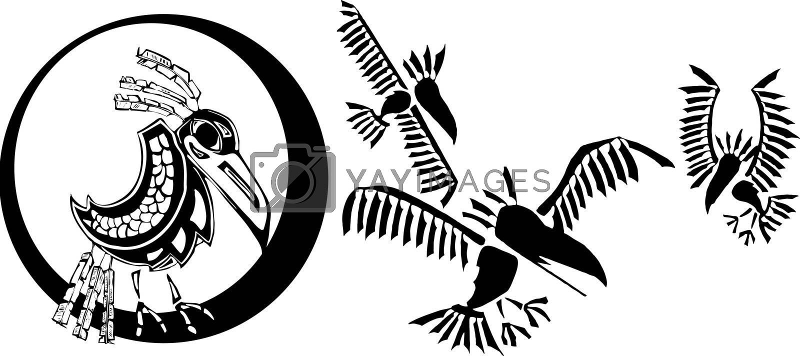Raven and his clan rendered in Northwest Coast Native Style.