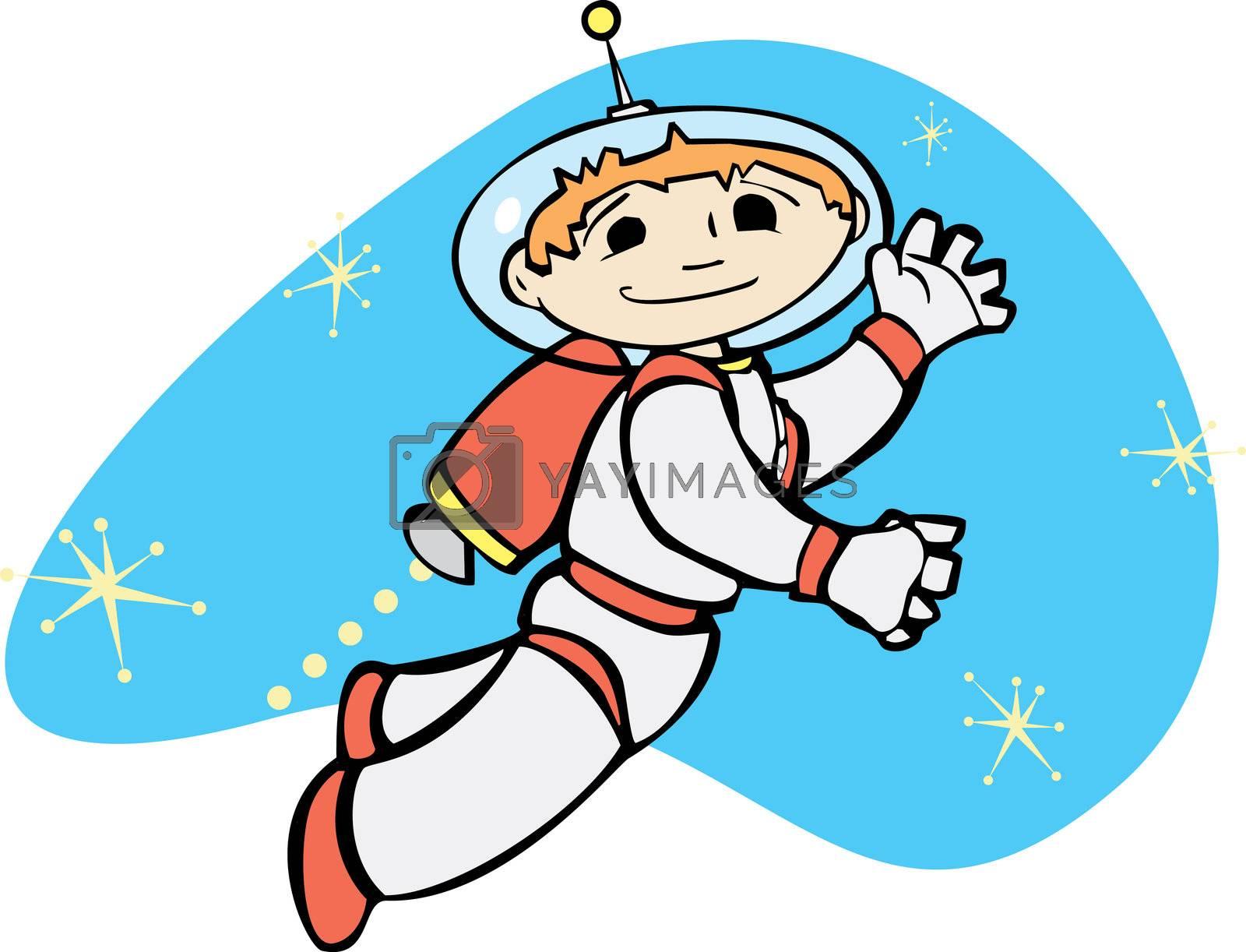 Retro boy in a jet pack flies through space.