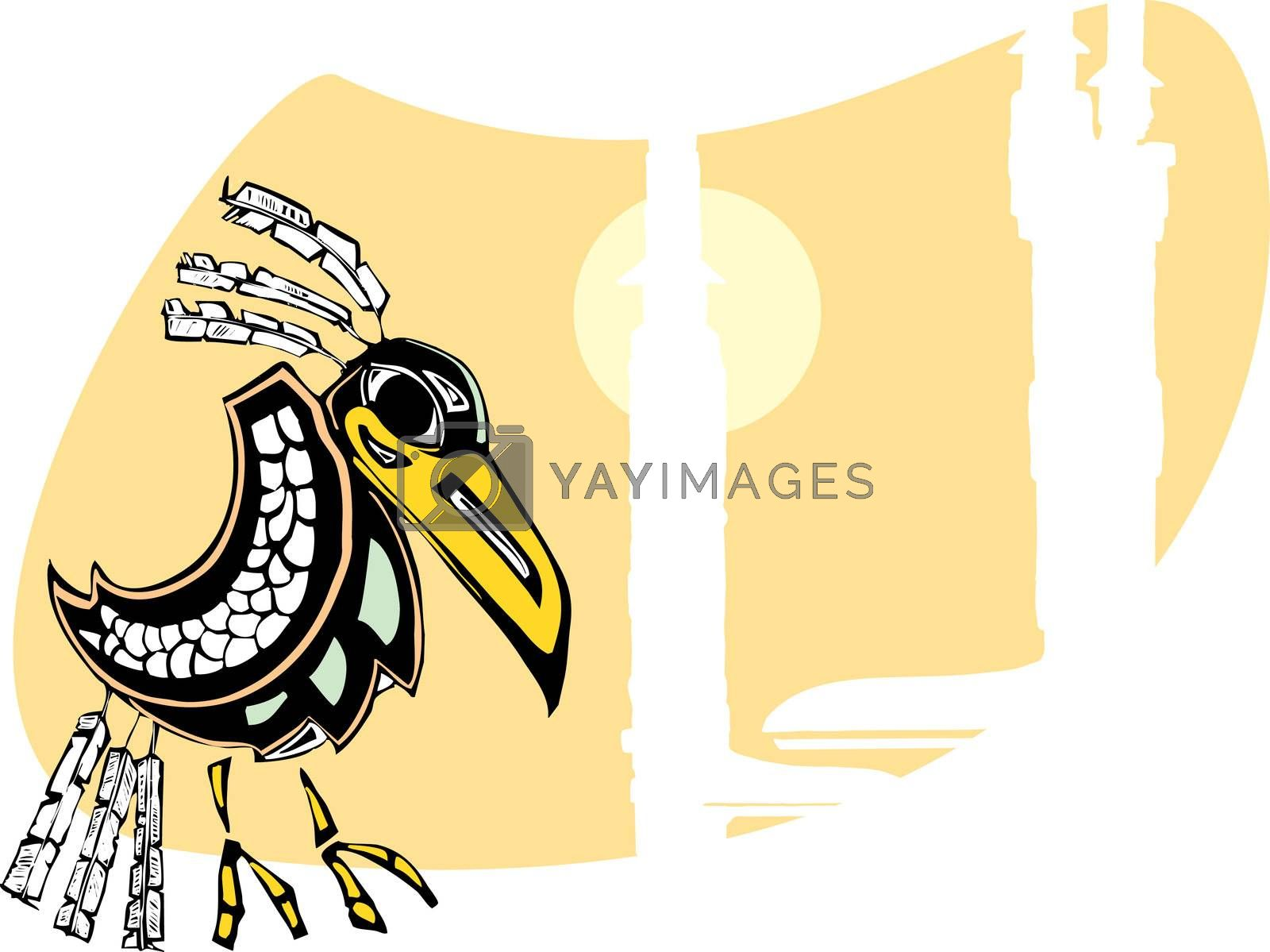 Raven sits by totem poles rendered in Northwest Coast Native Style.