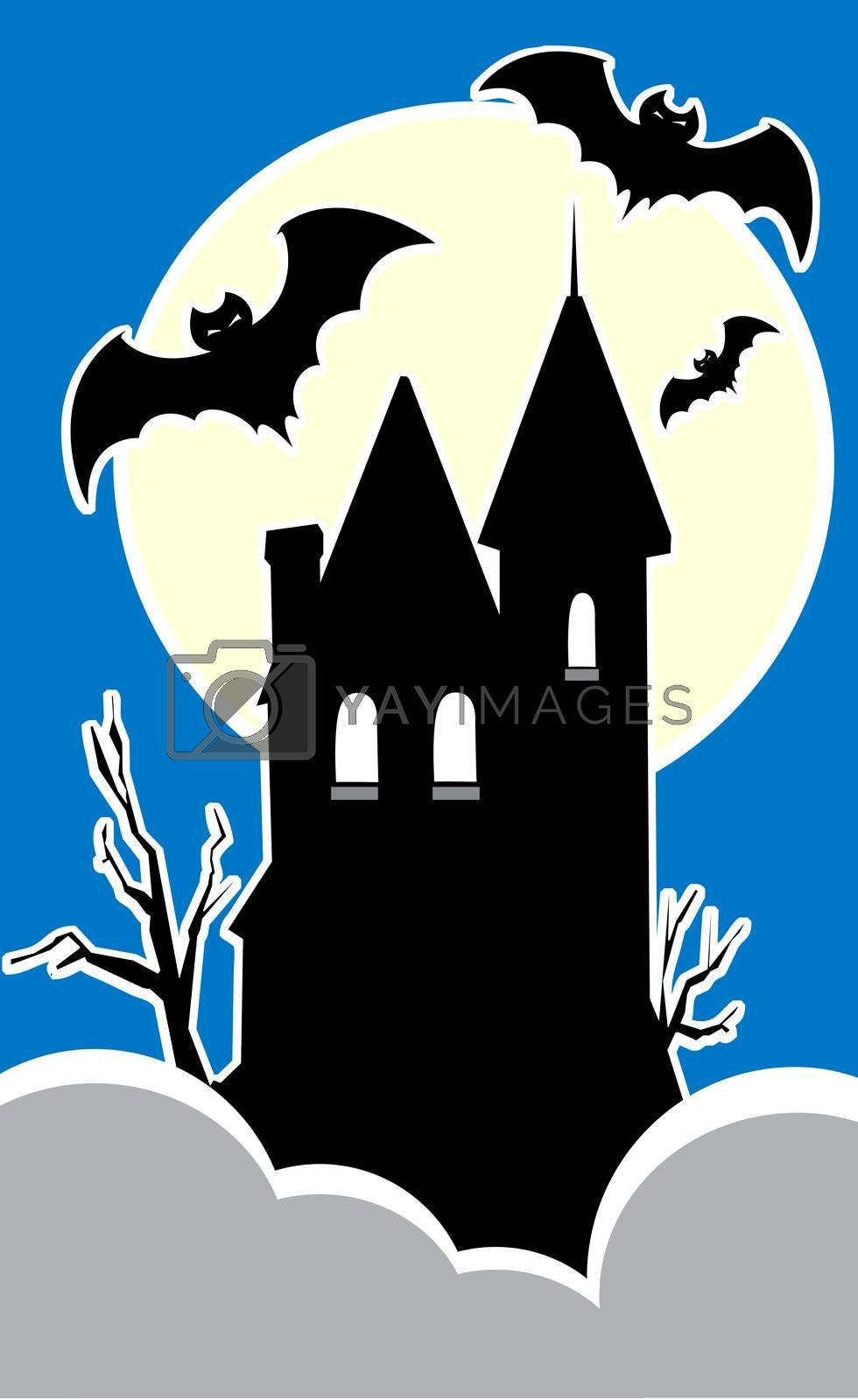 Haunted house on a hilltop with three bats.