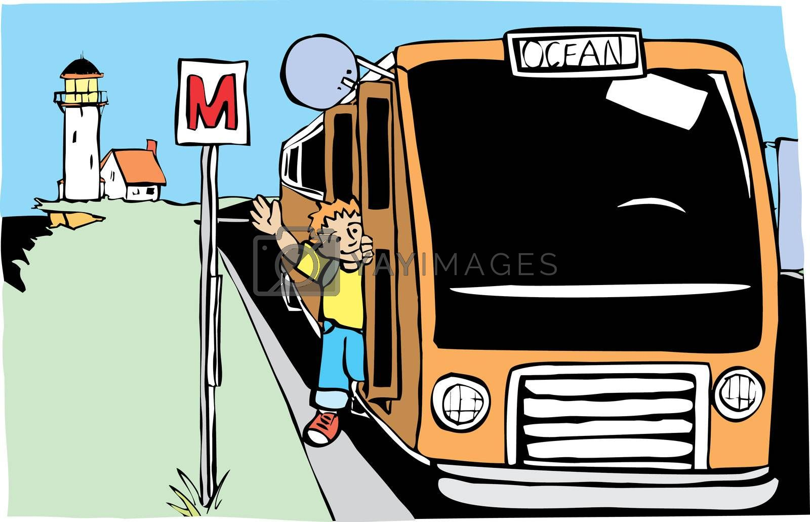 Boy getting off bus at a stop by the ocean.