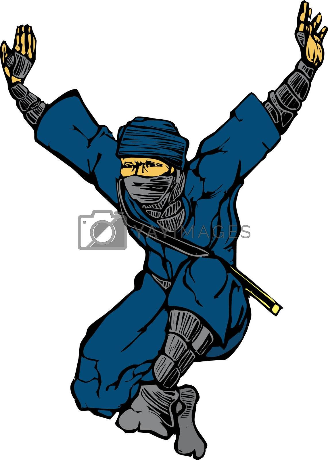 Isolated image of single leaping ninja.