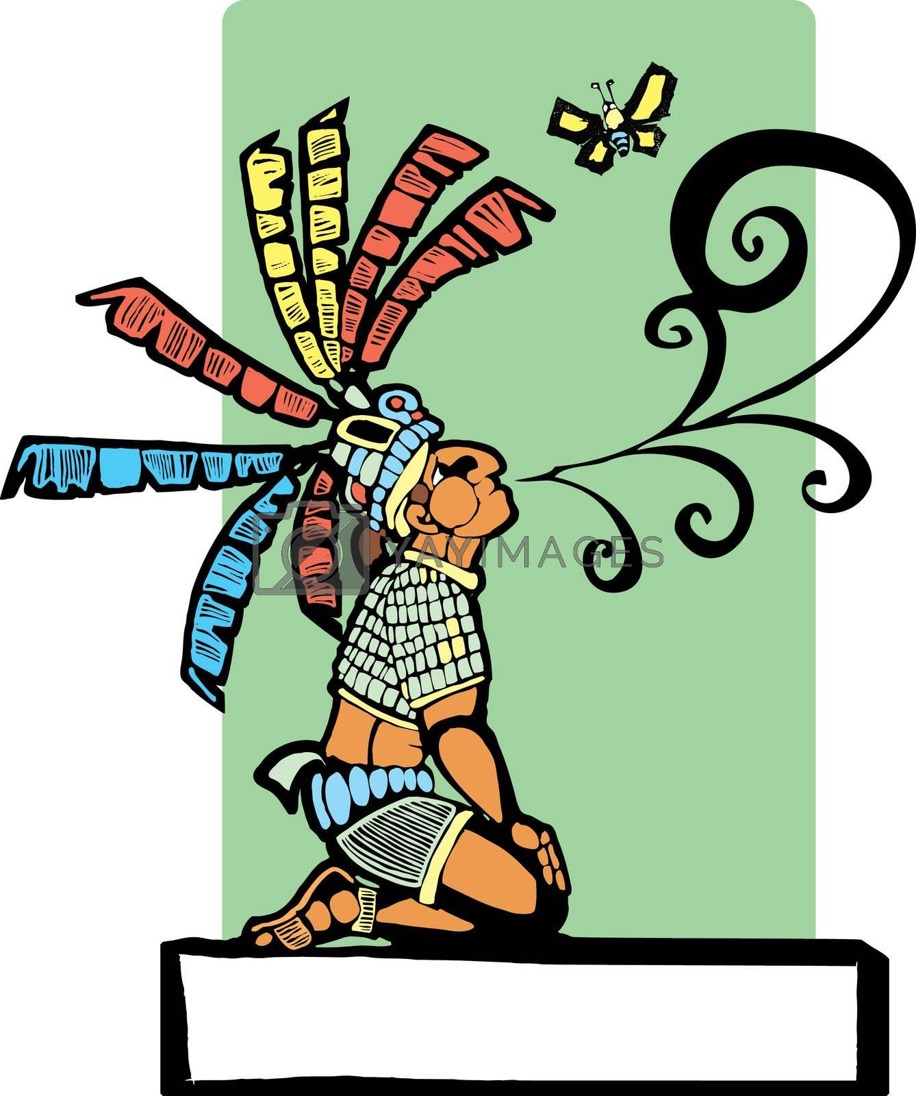 Mayan storyteller with speech scroll coming from his mouth and butterfly.