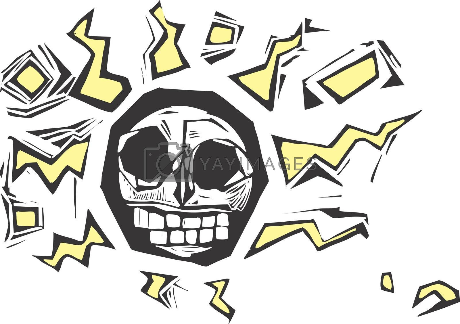 Stylized woodcut image of a skull with lightning bolts surrounding it.