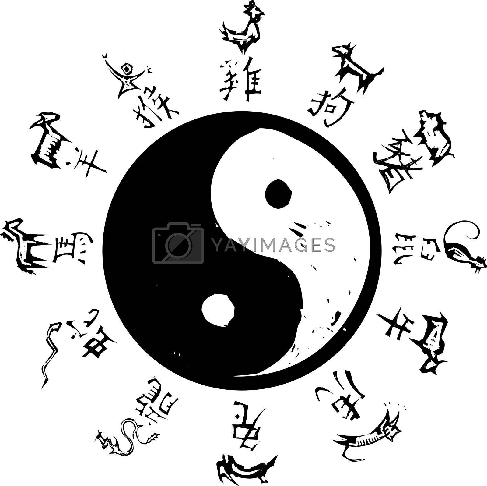 Yin and Yang Tao symbol with surround of Chinese Zodiac.