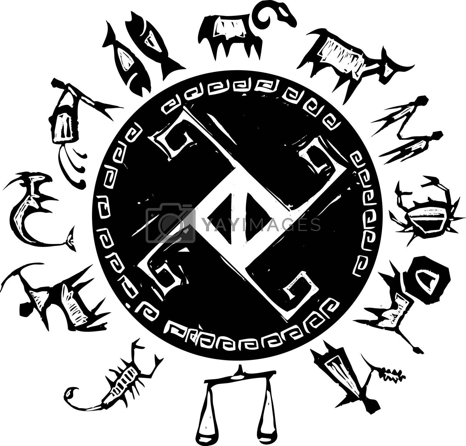 Primitive western zodiac around a center cross design.