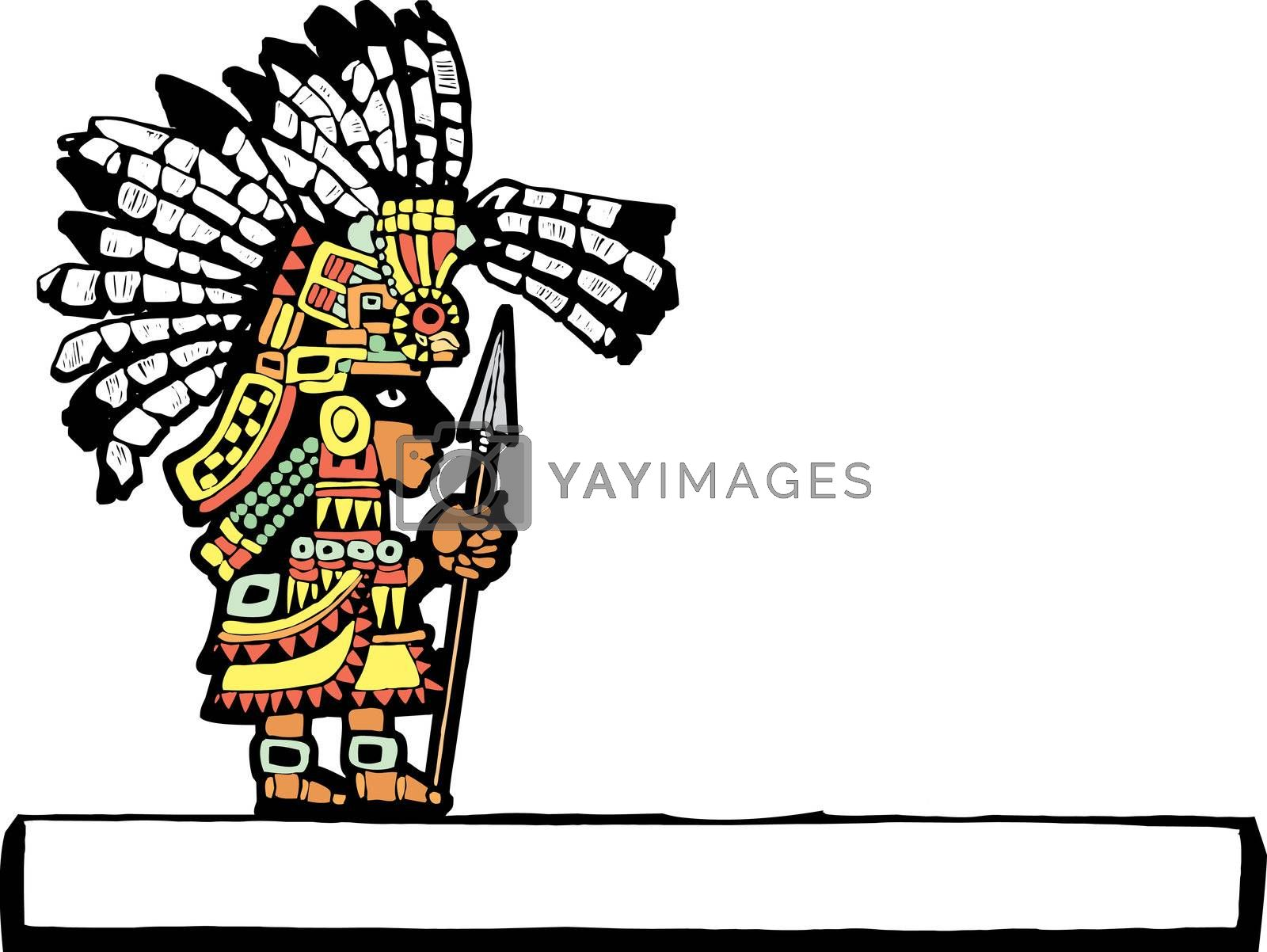 Teotihuacan Warrior rendered in temple mural style.