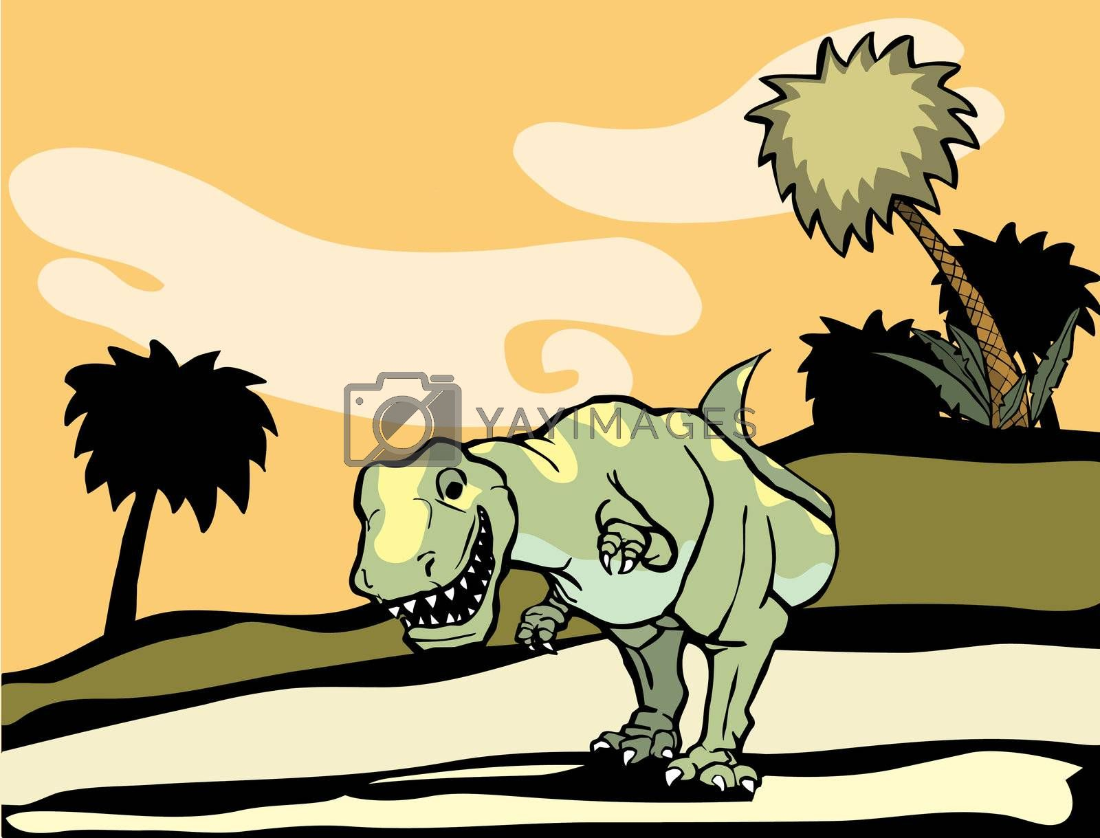 Smiling Tyrannosaurus Rex with yellow patterning walks through palm trees.