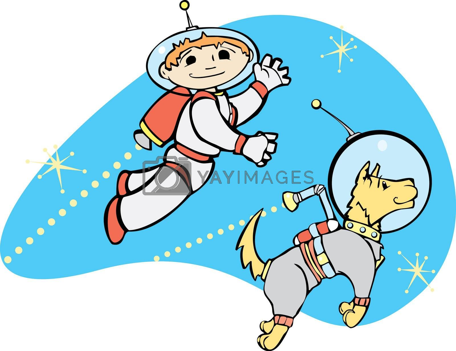 Retro boy in jet pack flies through space with his dog.
