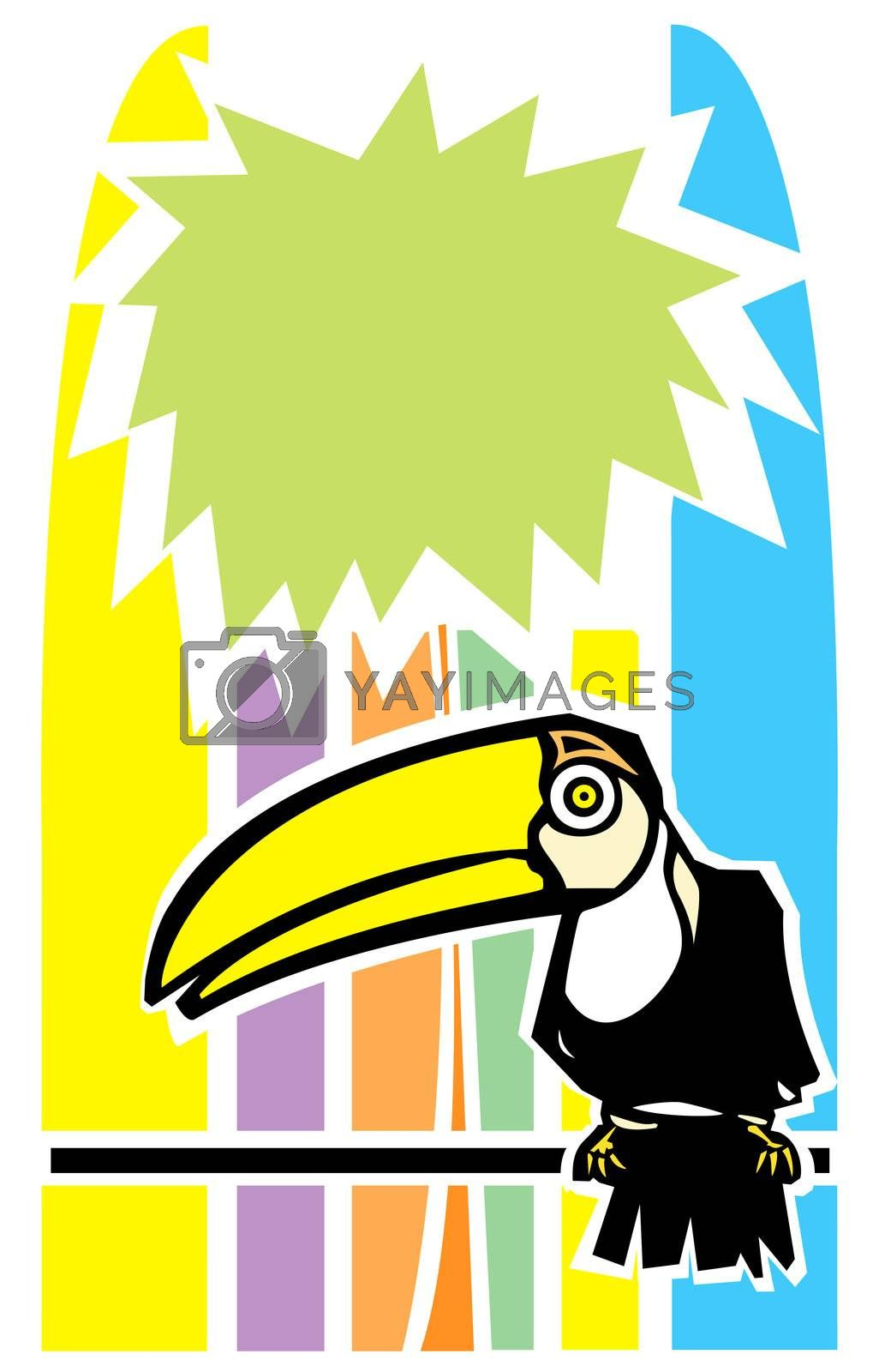 Tropical toucan bird with stylized palm tree in background.