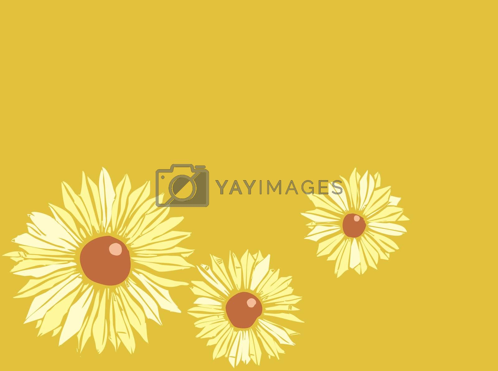 Floral image of two twining vines (derived from my own hand drawn images) with three black eyed susans in the background.