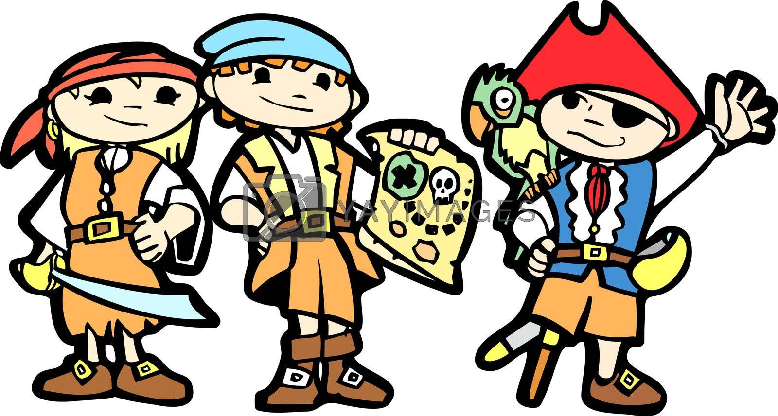 Children dress in pirate costumes with swords, parrots and maps.