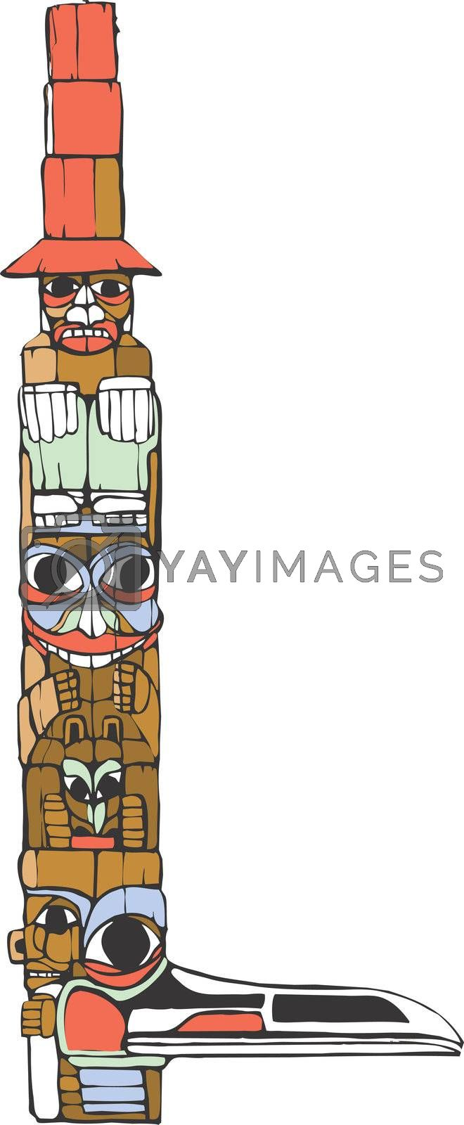 A totem pole in the style of Northwest Coast native cultures.