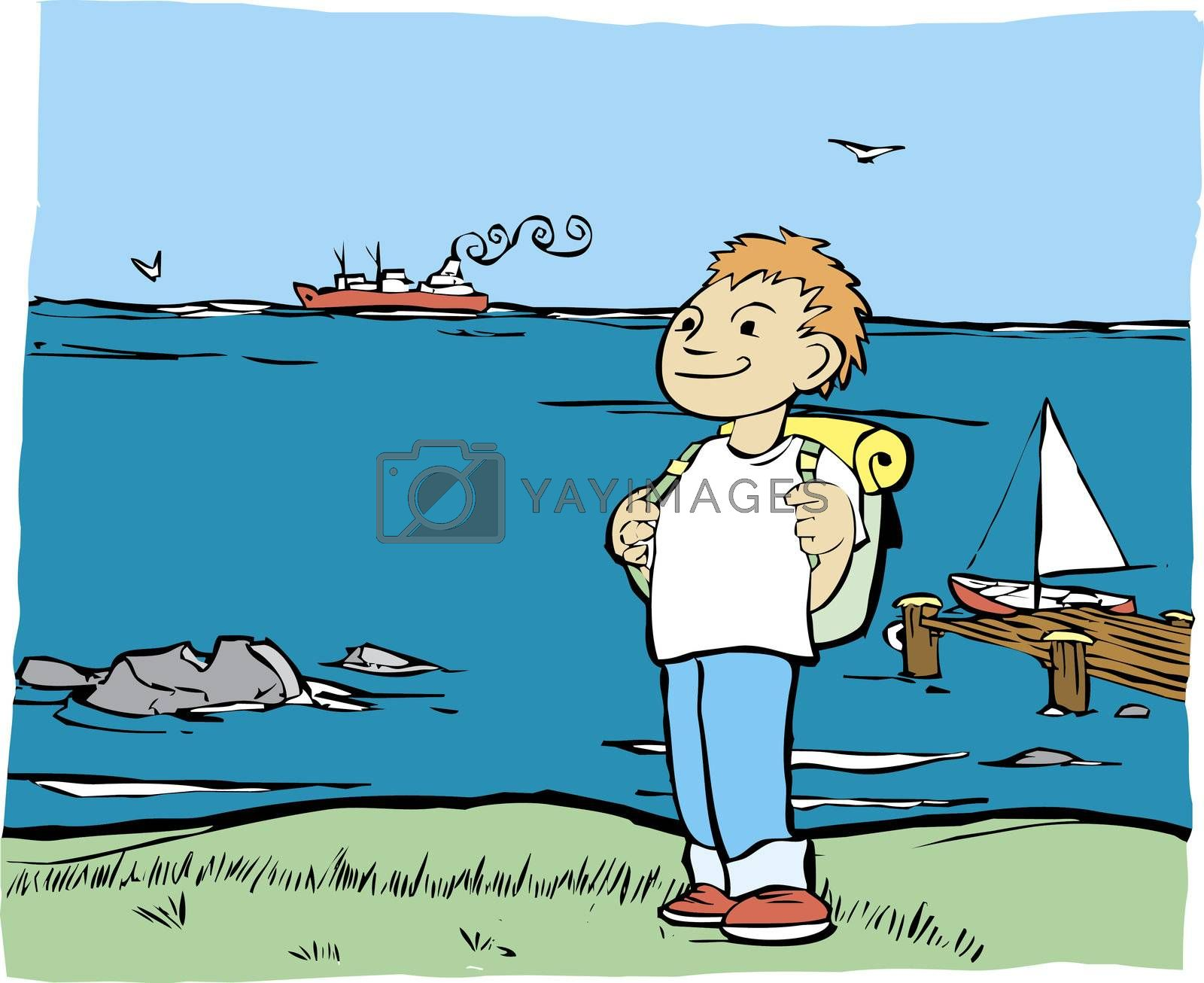 Boy with backpack on the shore of the ocean.
