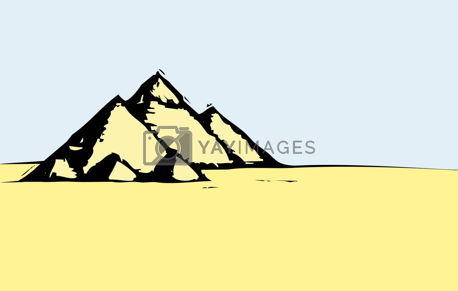Woodcut style image of the Egyptian pyramids.