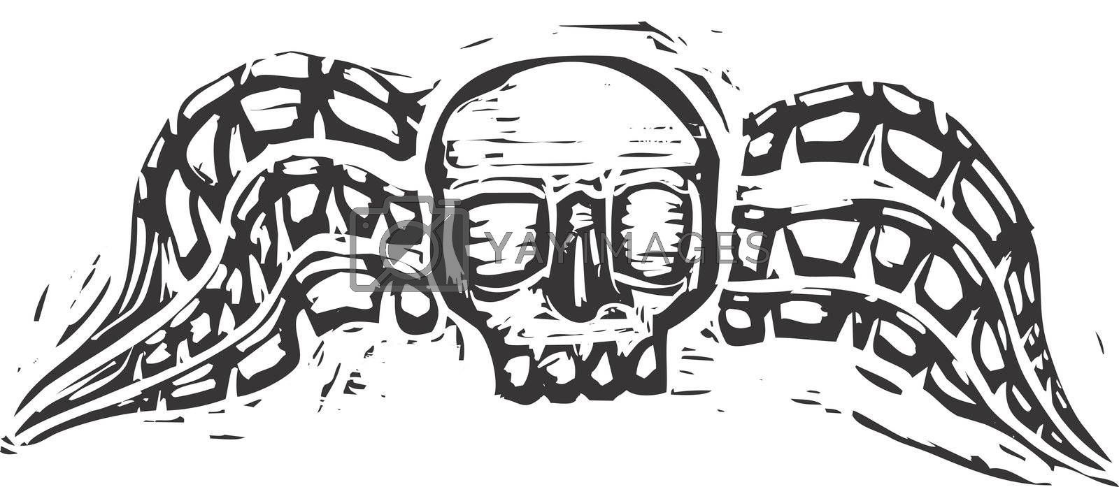 Winged skull design evoking the image of a gravestone from the 18th century.