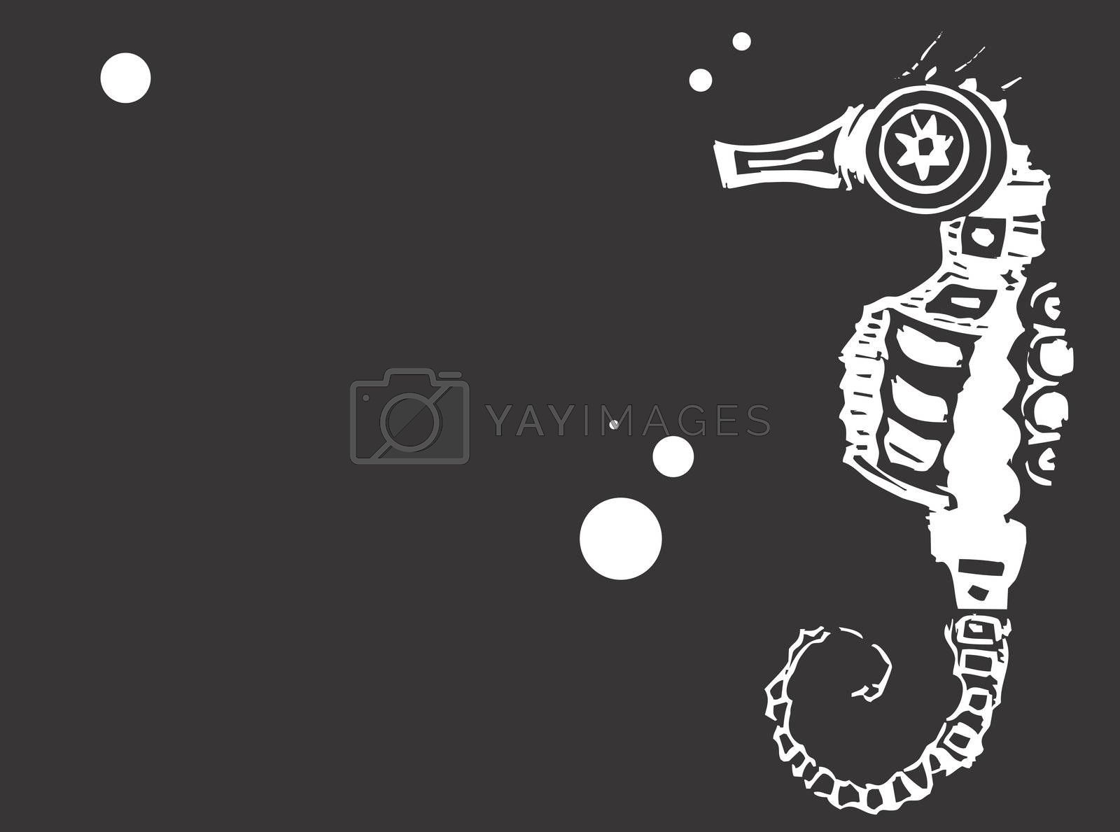 Single seahorse taken from one of my scratch board images and placed against a black background with bubbles.