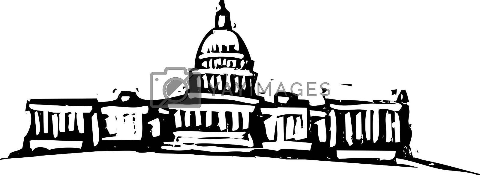 Black and White woodcut style illustration of the Washington DC Captial building.