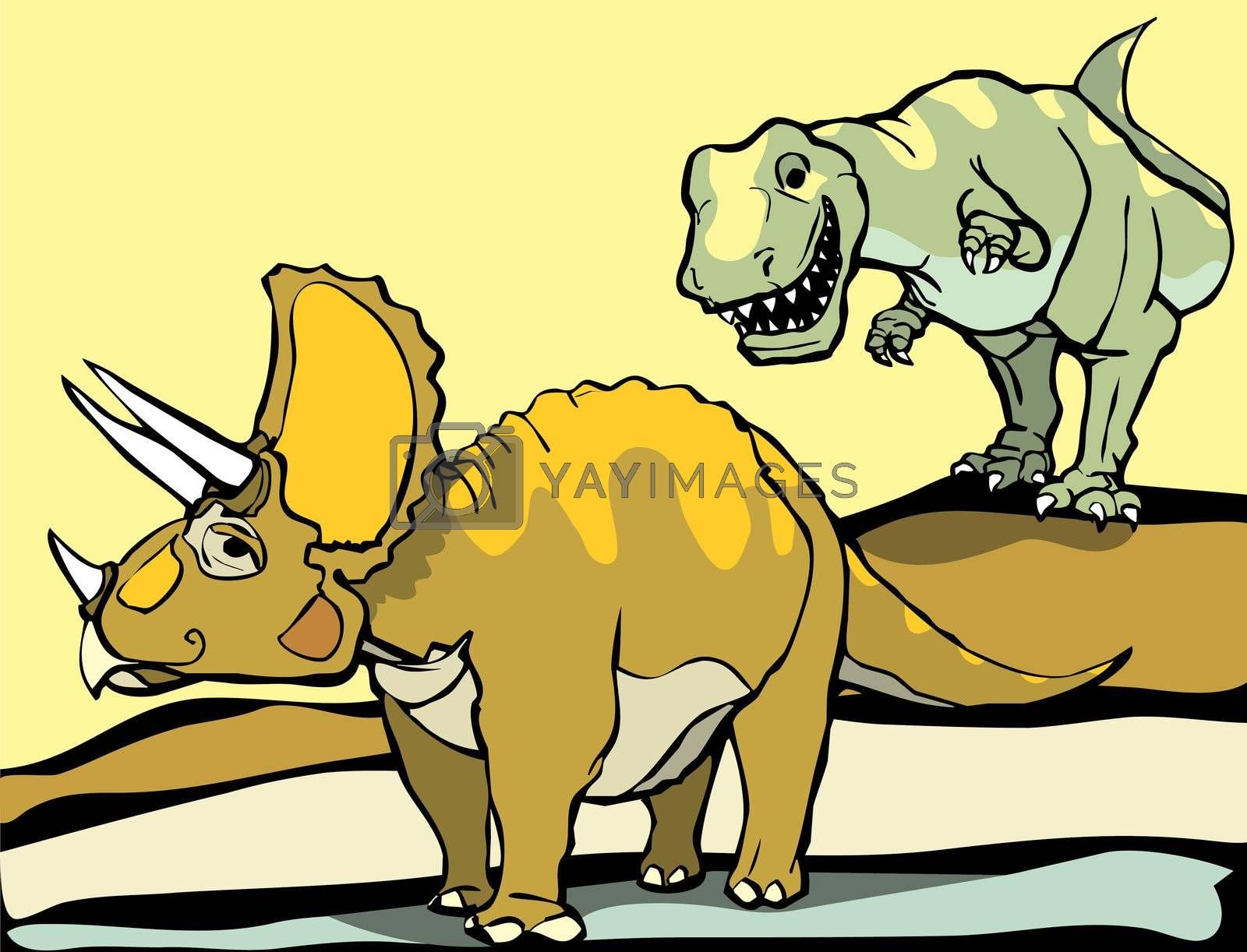 Smiling Tyrannosaurus Rex hunts the Triceratops.