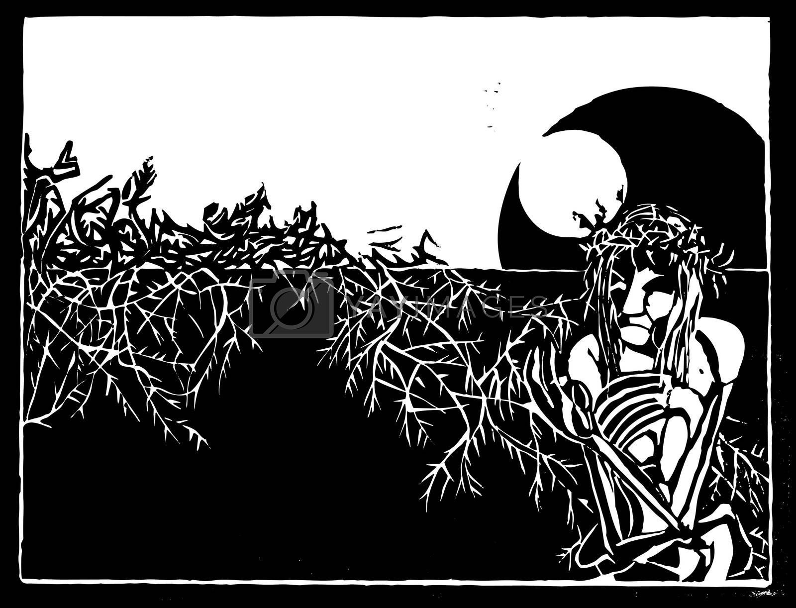 Woodcut stylization of Jesus Christ with crown of thorns.