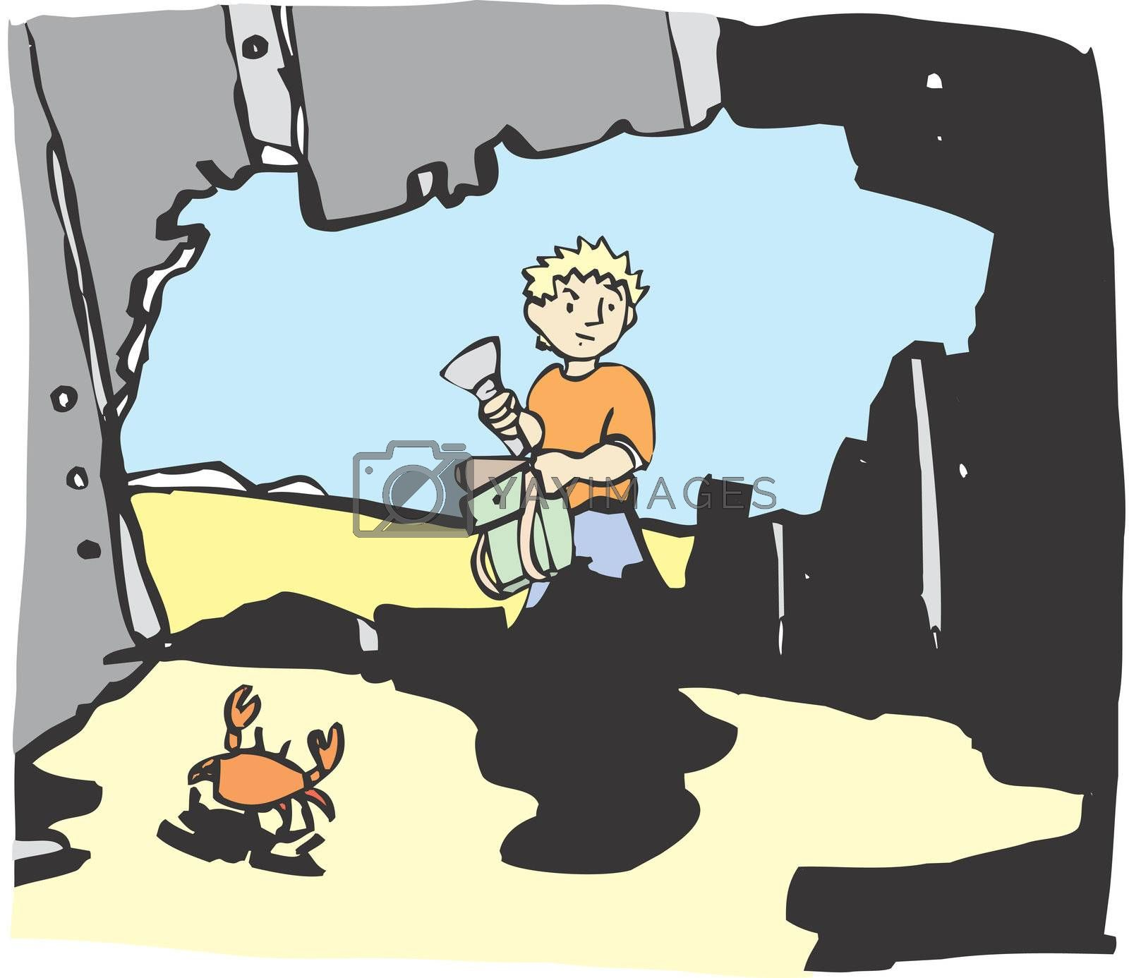 A boy with a flash light gets ready to explore an abandoned ship on a beach.