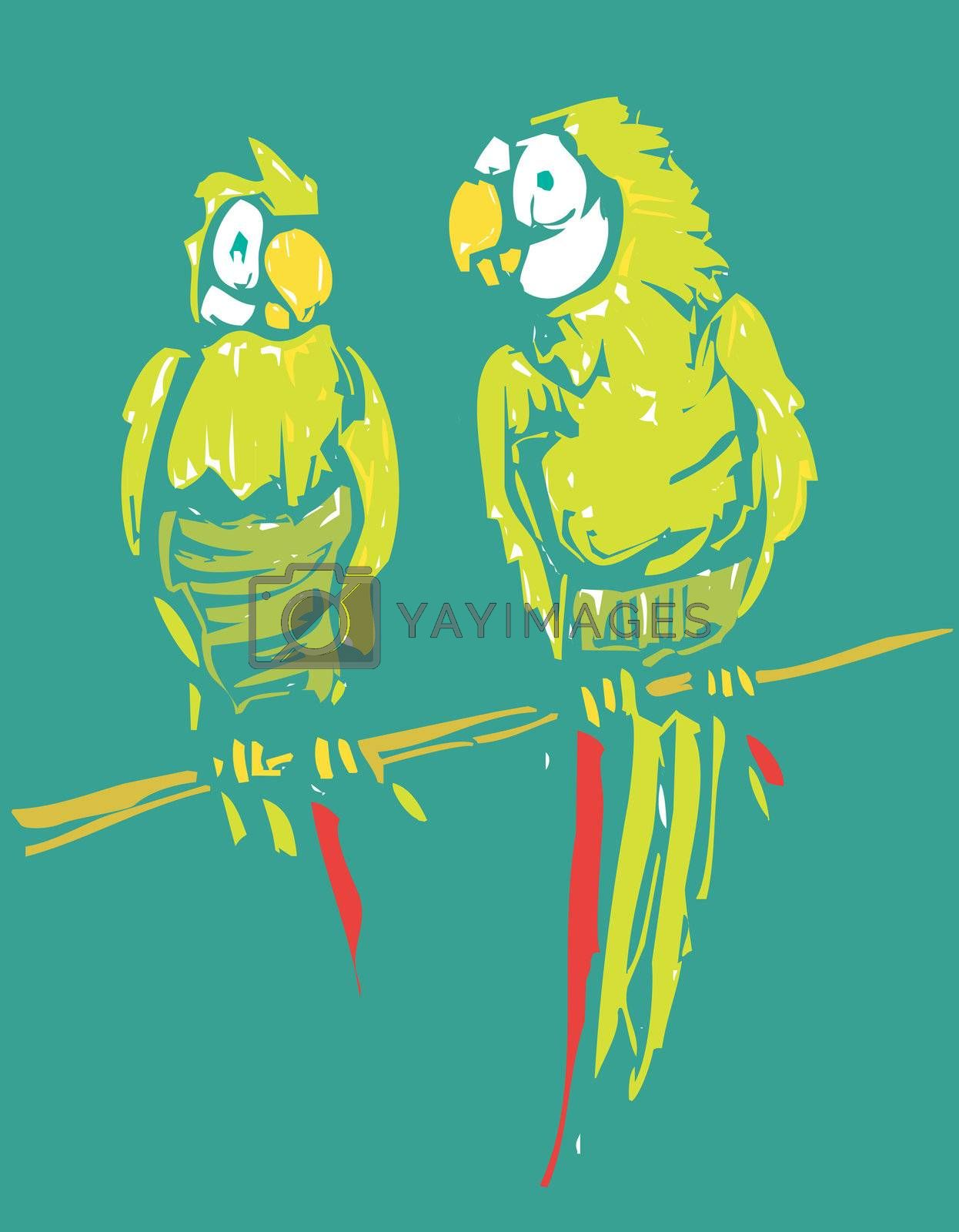 two parrots in green with red plumage sit together