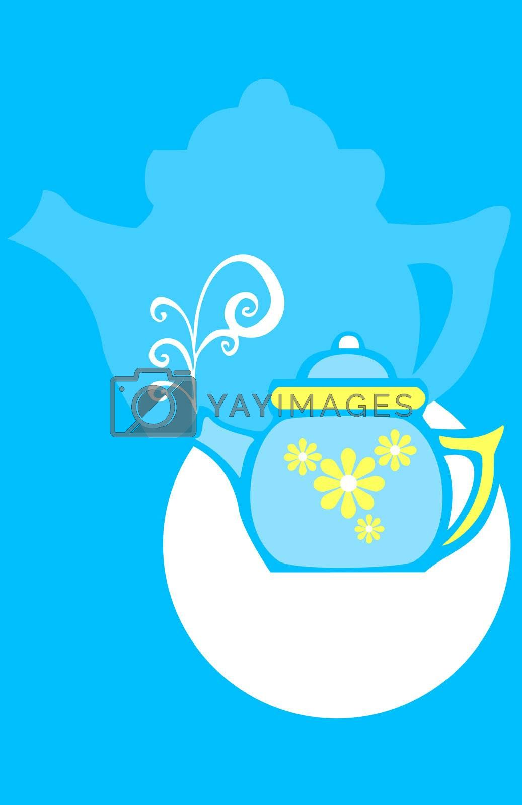 Negative image coffee cup and pot with seventies style swirls.