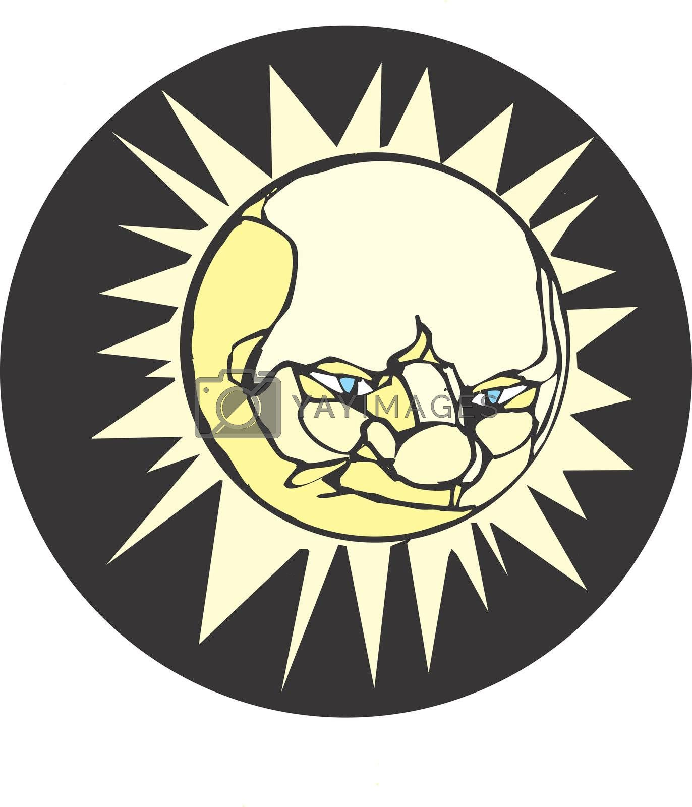 Face of the sun rendered in woodcut with vector elements.