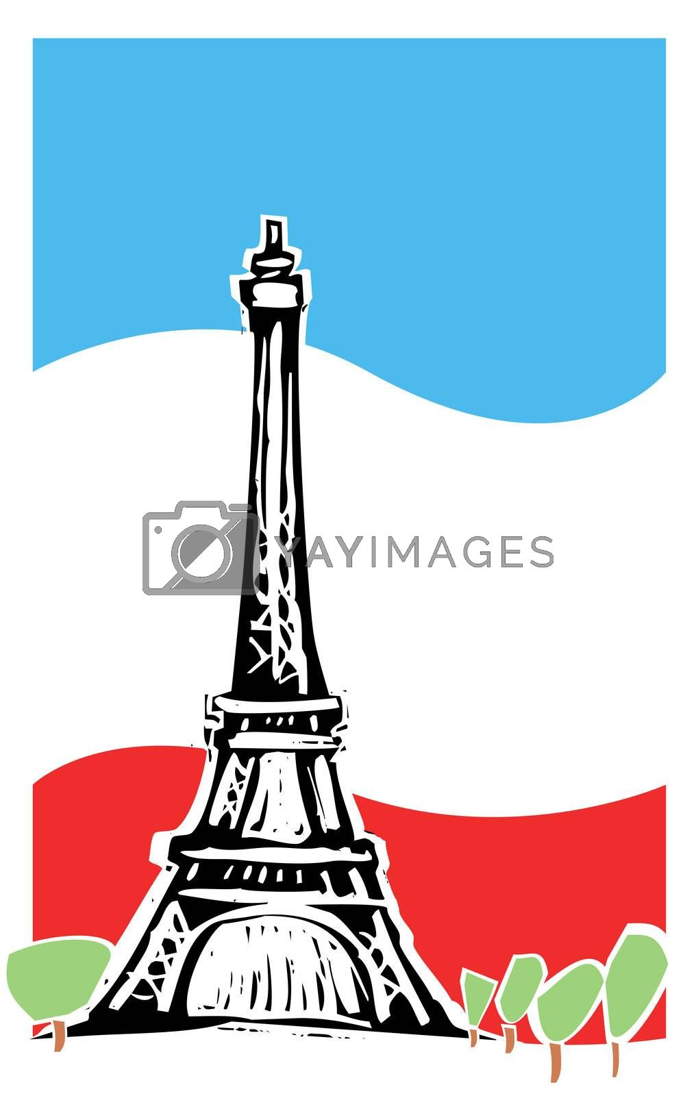 Eiffel tower in Paris France with spring trees and french flag.
