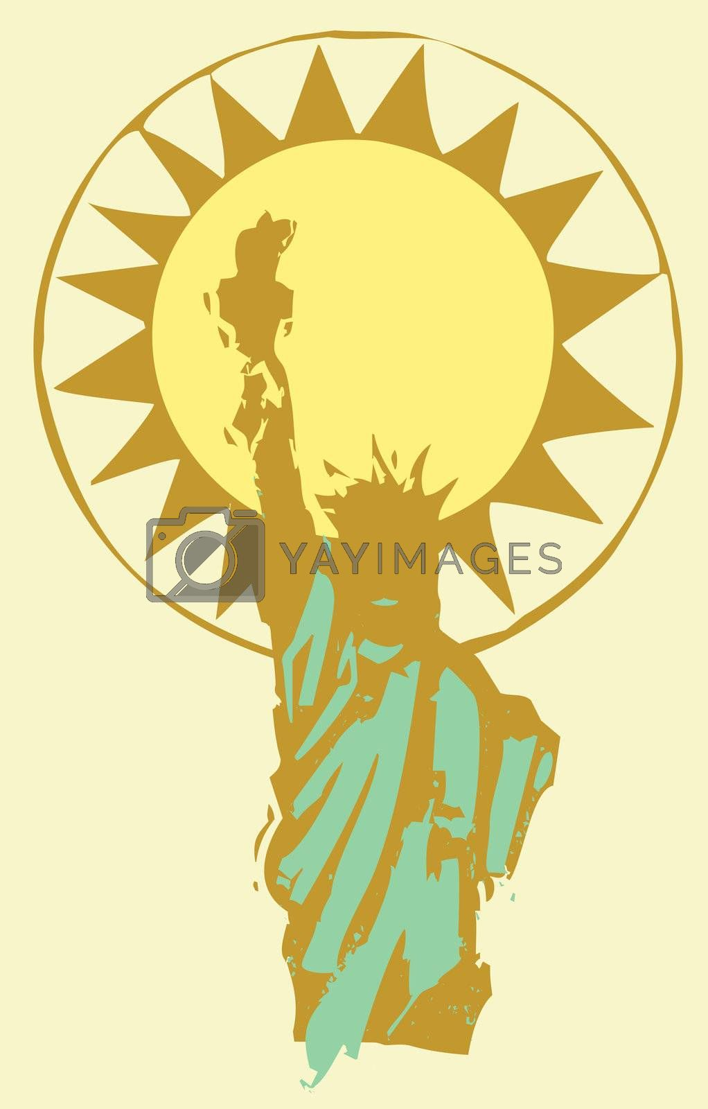 Statue of Liberty in shadow with the sun behind it.