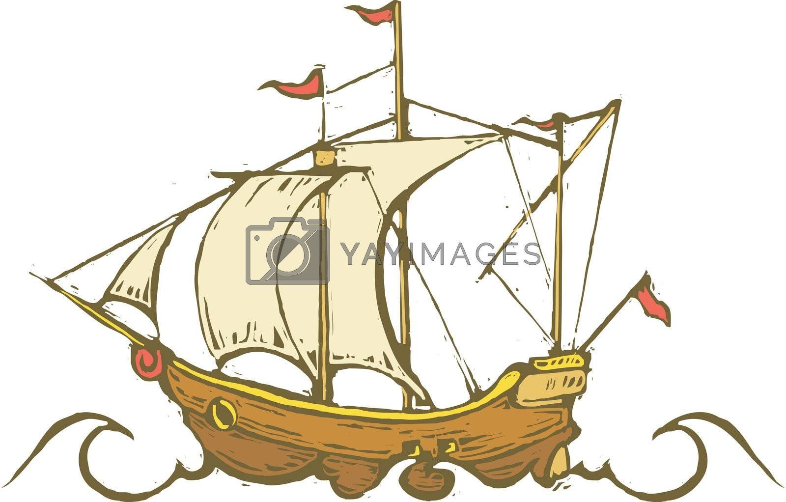 Sailing ship or Pirate ship on the high seas.