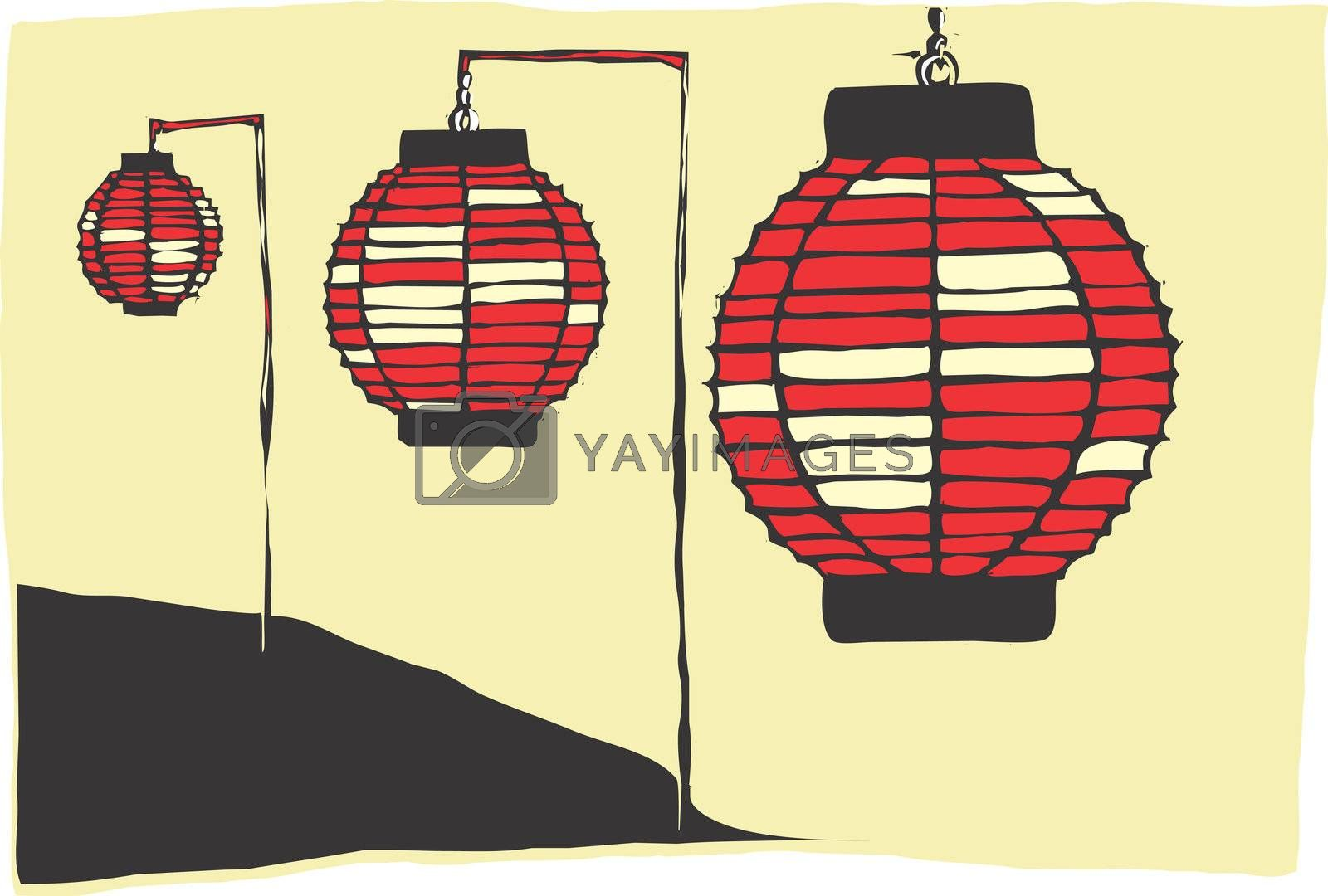 Three Paper Lanterns on a Japanese hillside.